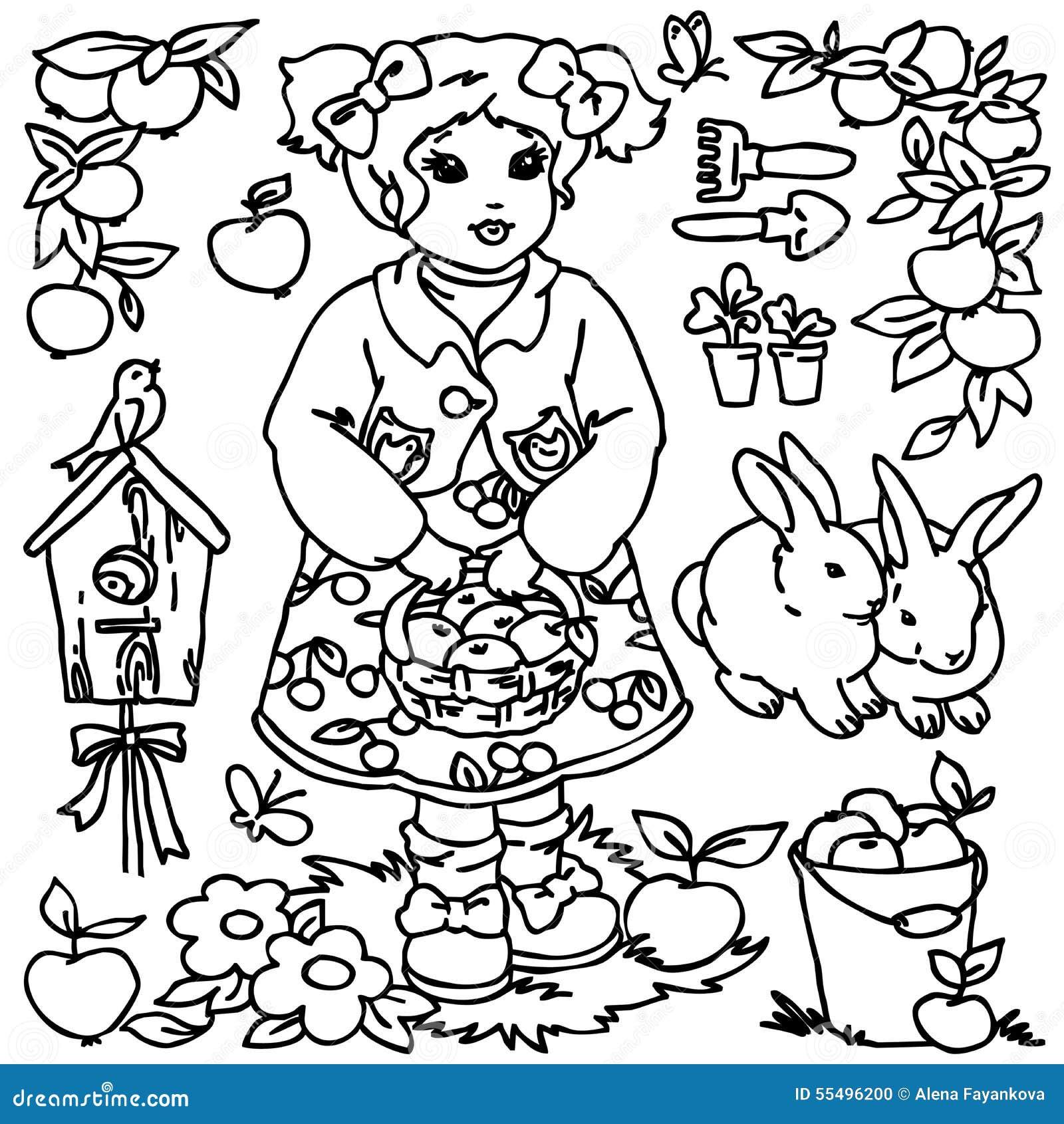 Coloring Book Cartoon Farm Girl And Animals Stock