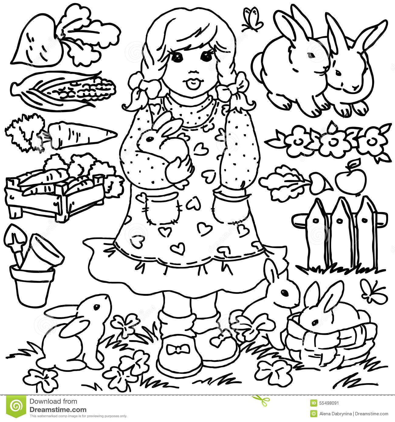 Coloring Book Cartoon Farm Girl And Animals Stock Illustration