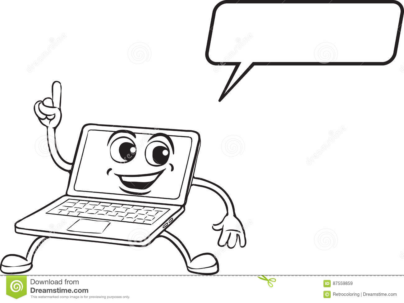 Coloring Book - Cartoon Pointing Laptop Computer Character Stock ...
