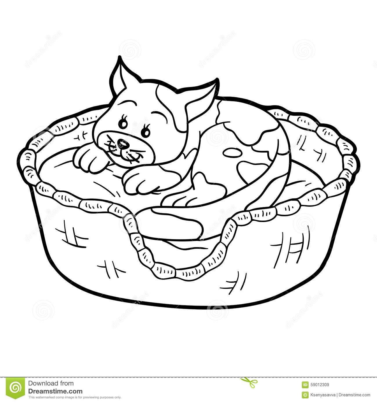 Coloring Book (cat In A Basket On A Pillow) Stock Vector ...