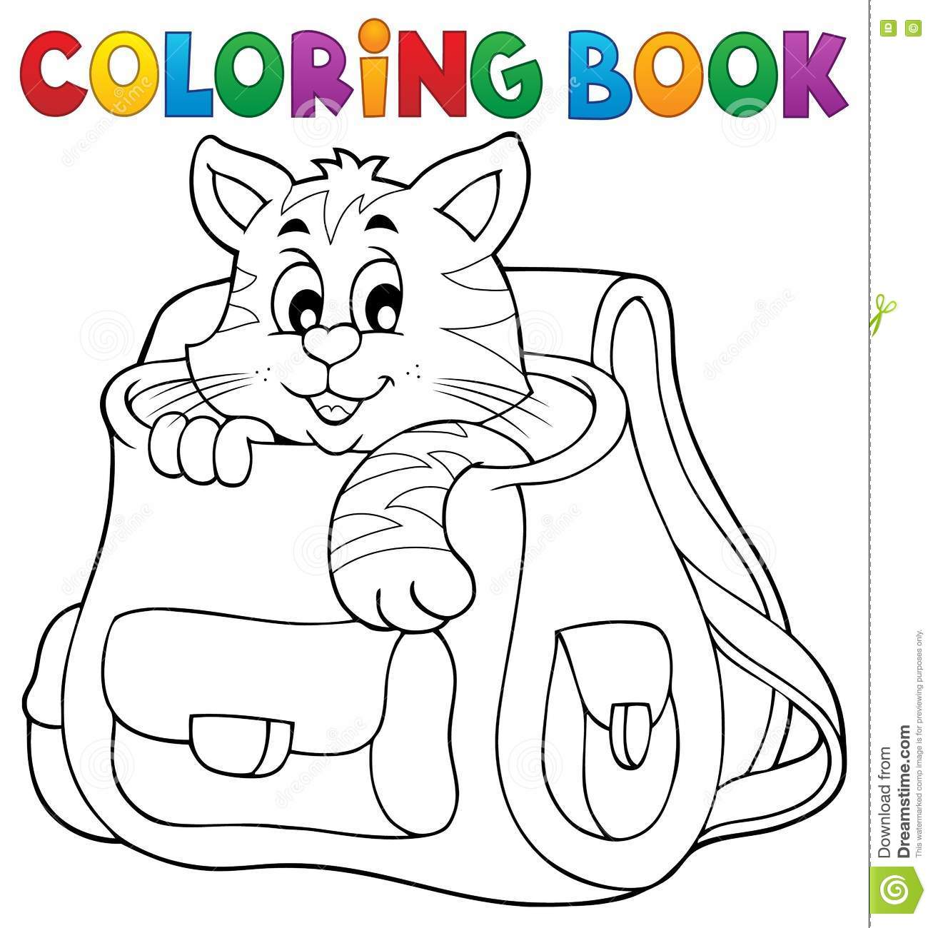 Coloring Book Cat In Schoolbag Stock Vector Illustration