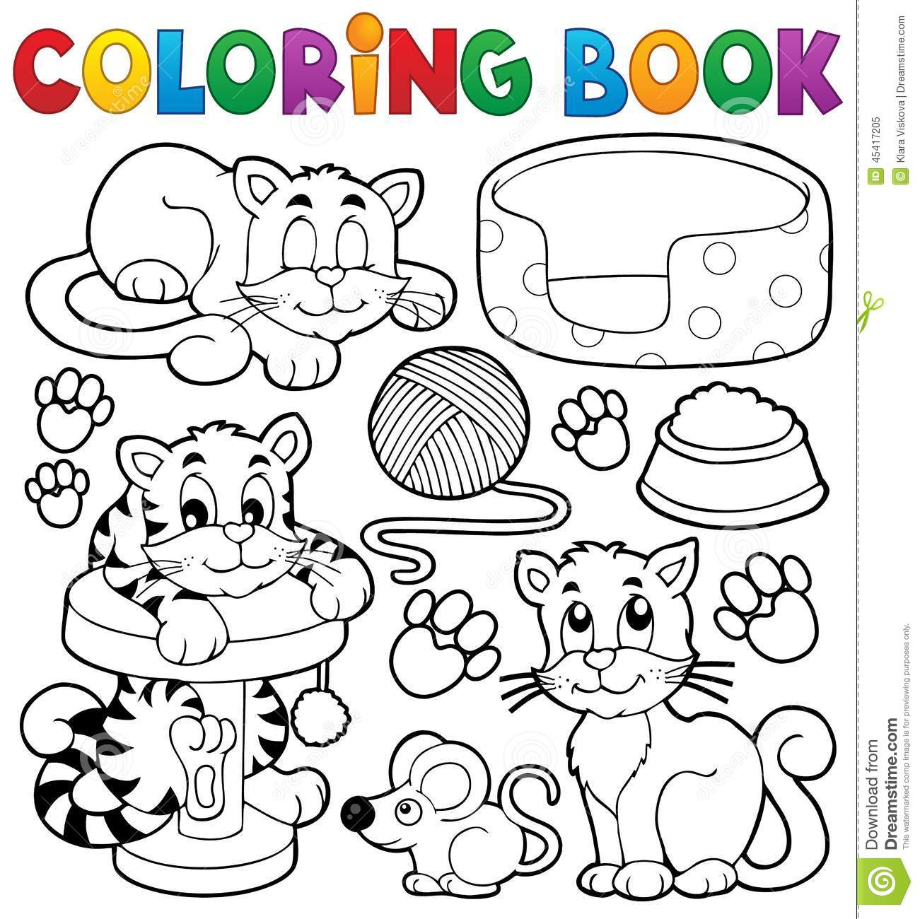 Royalty Free Vector Download Coloring Book Cat