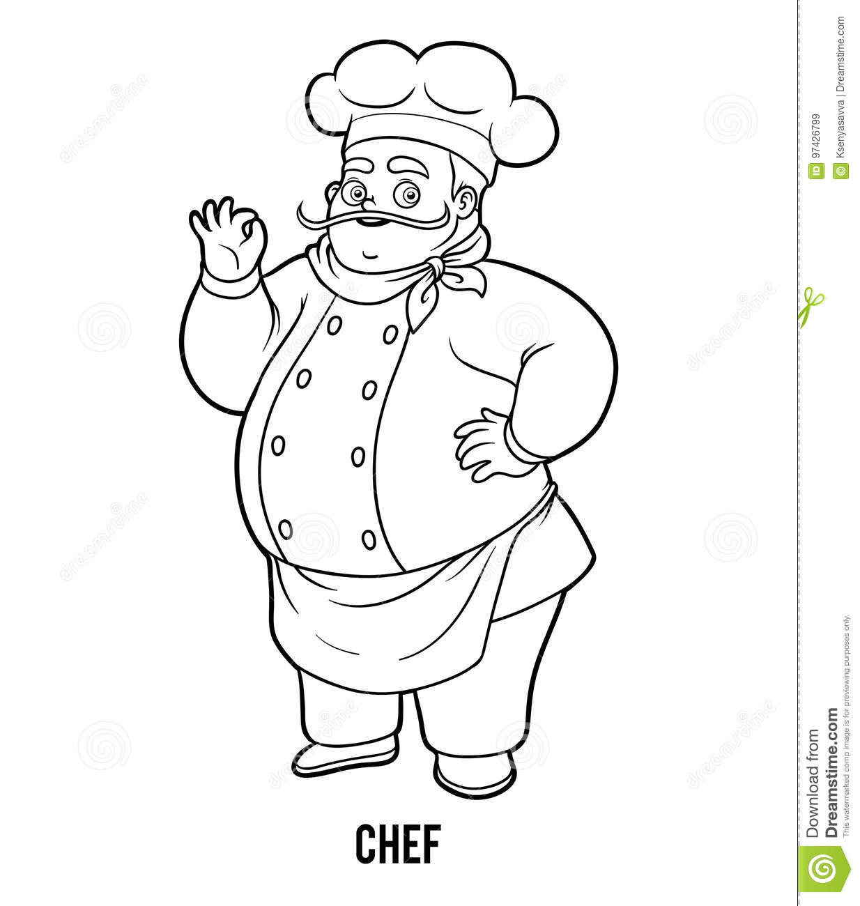 Coloring Book Chef Stock Vector Illustration Of Culinary 97426799