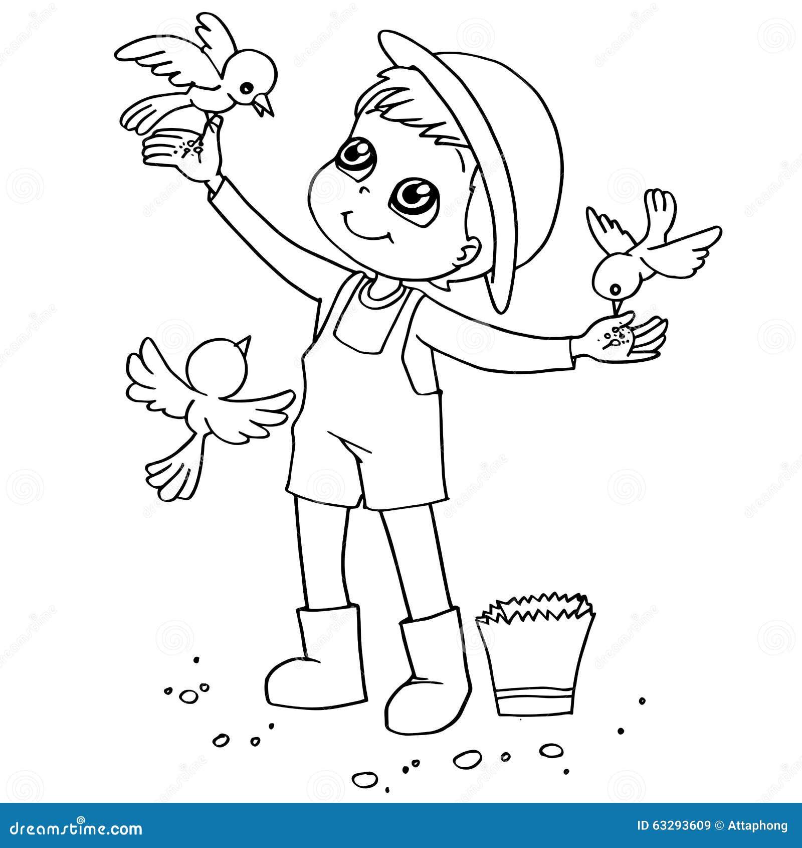 Coloring book child feeding birds vector stock vector - Image dessin enfant ...