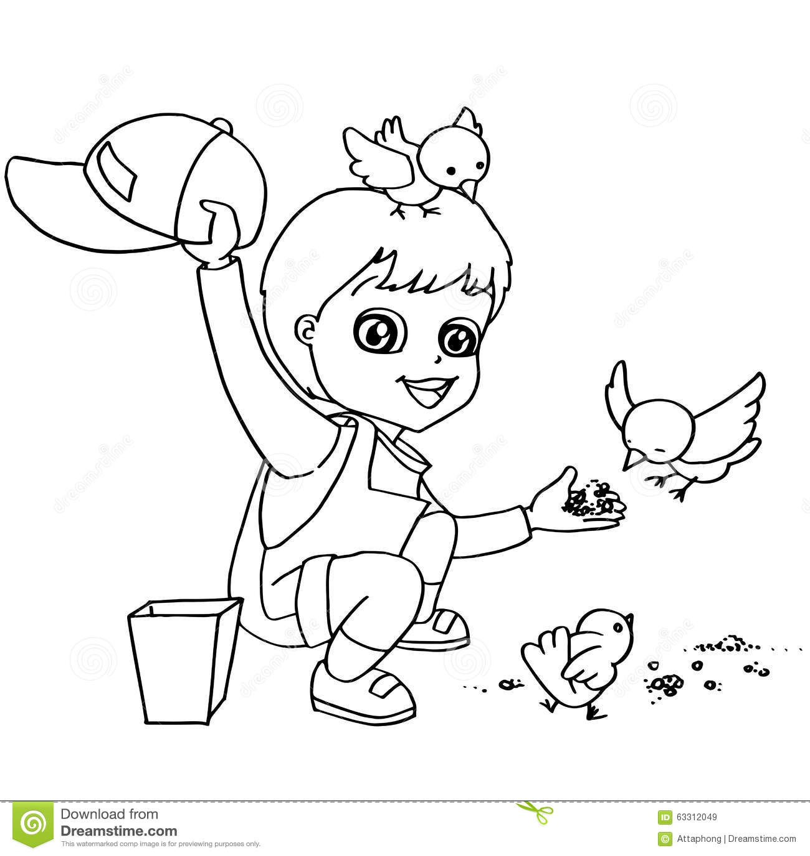 coloring book child feeding birds vector stock vector image