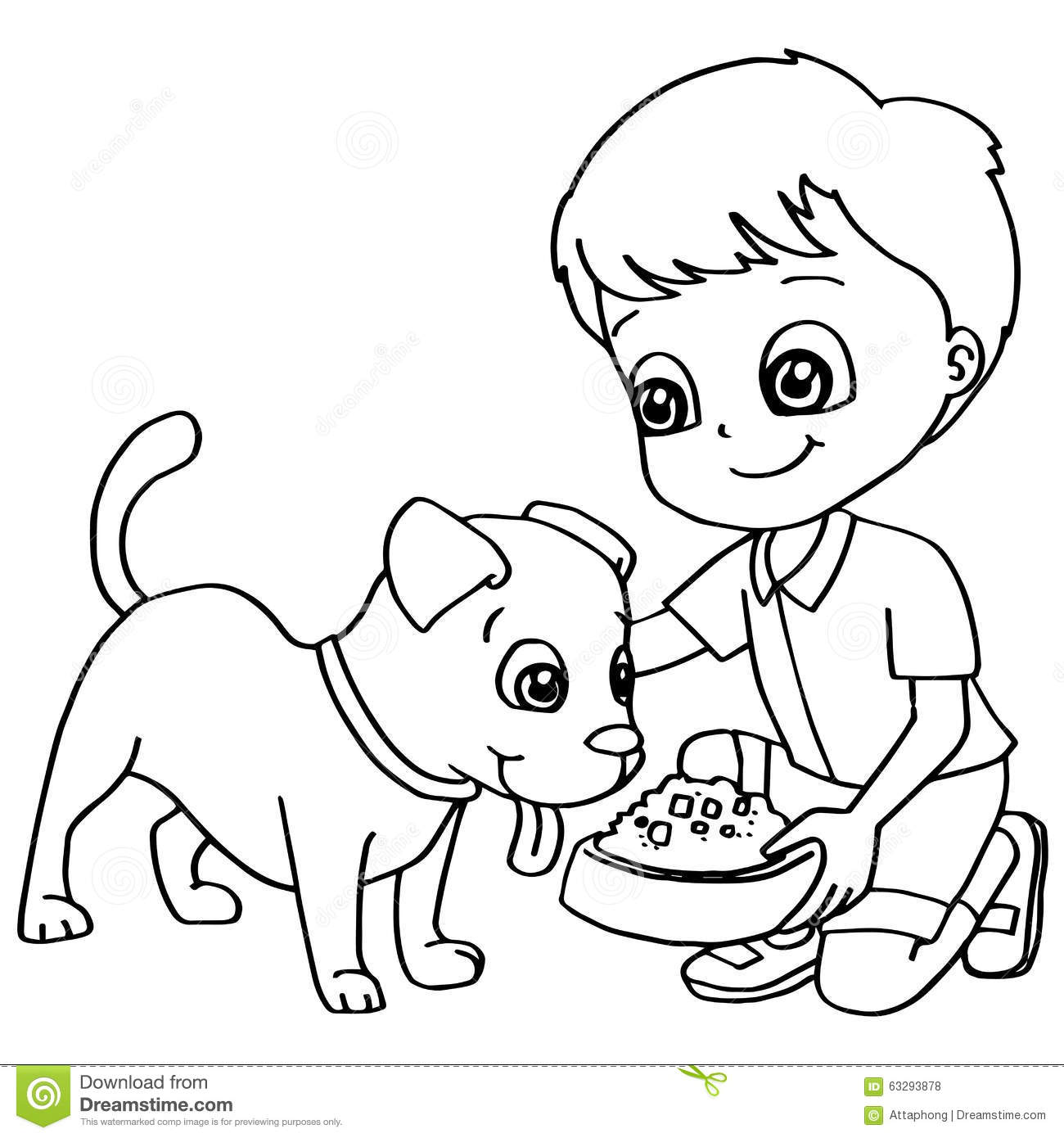 Coloring Book Child Feeding Dog Vector Stock Vector Illustration