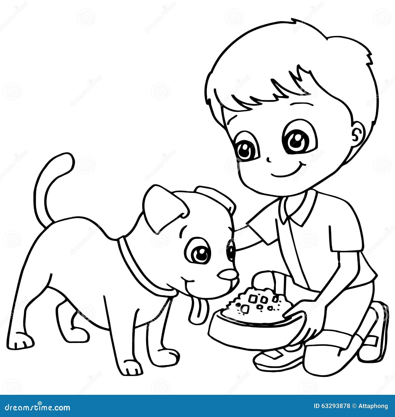 Coloring Book Child Feeding Dog Vector Stock Vector
