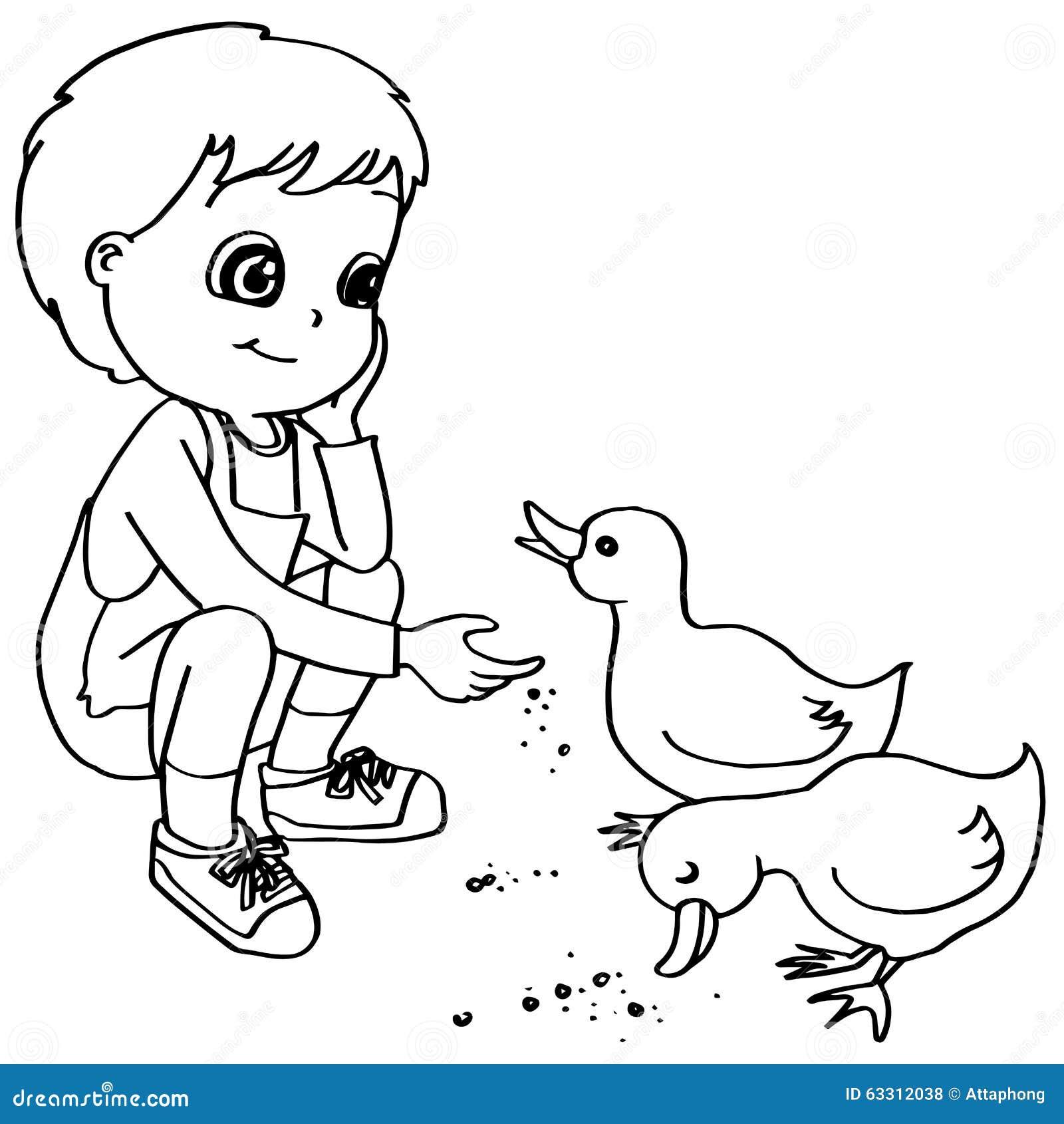 Coloring Book Child Feeding Ducks Vector Stock Vector - Illustration ...