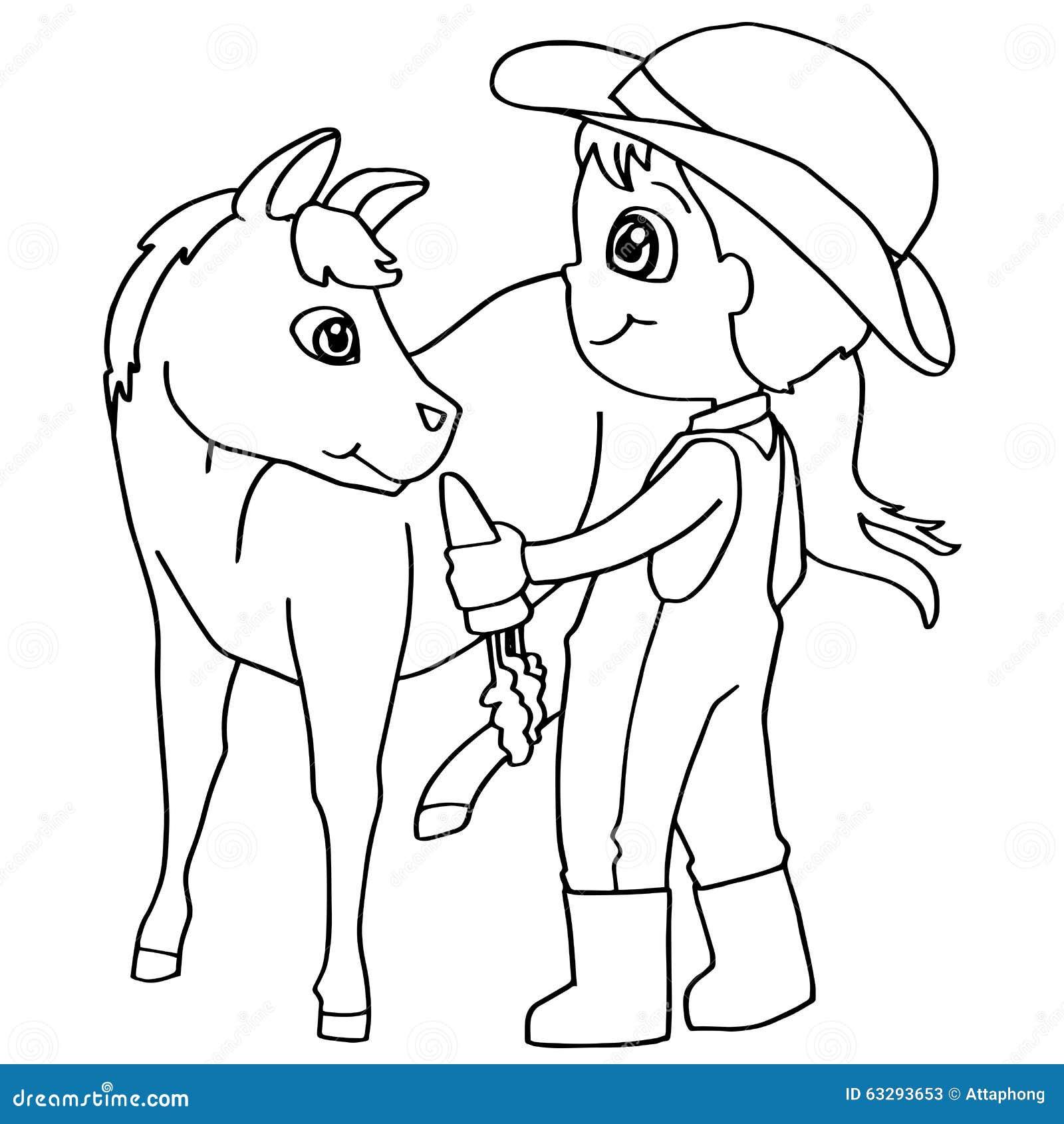 Coloring Book Child Feeding Horse Vector Stock Vector