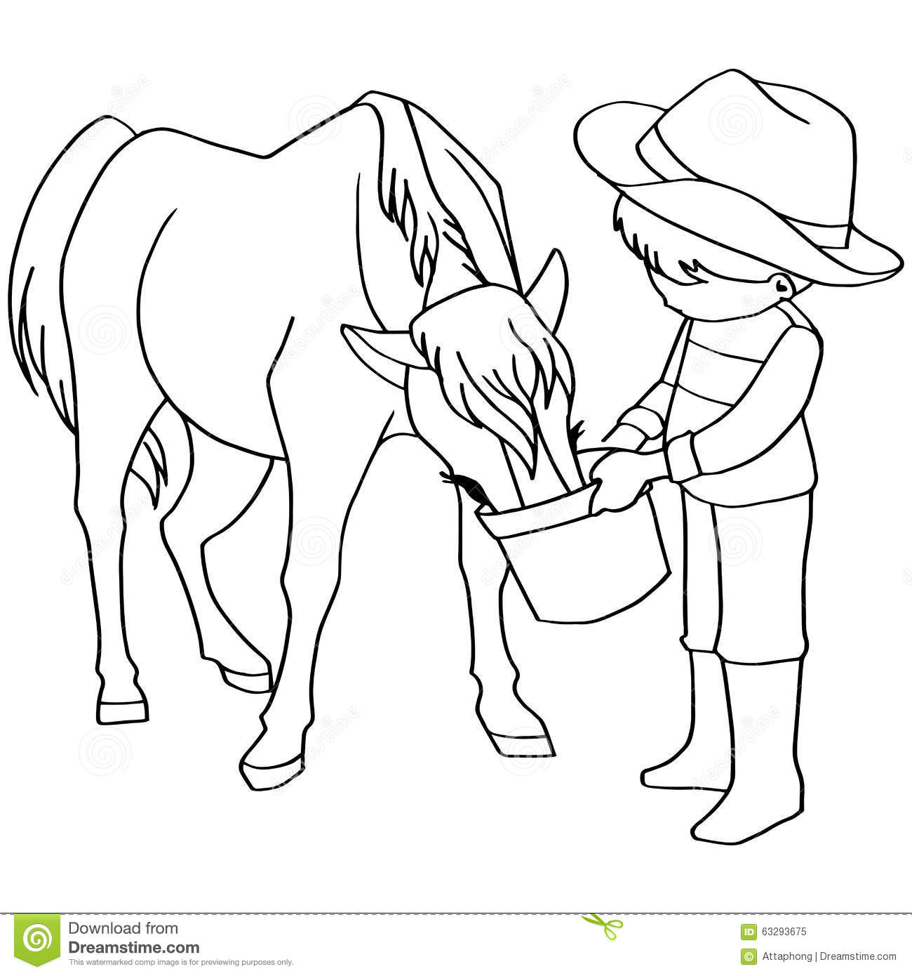 Kleurplaat Paard Tinker Coloring Book Child Feeding Horses Vector Stock Vector