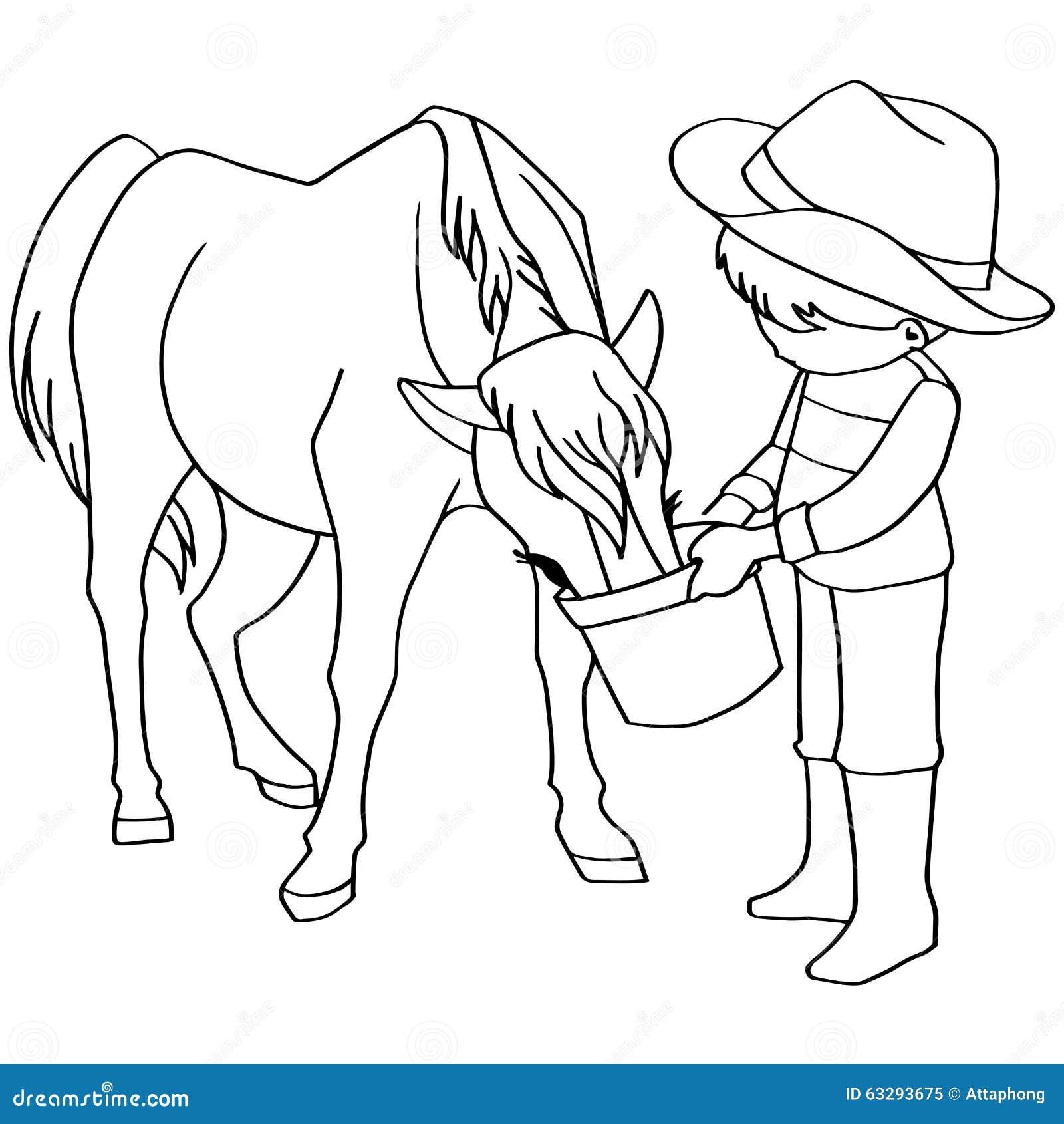 coloring book child feeding horses vector stock vector