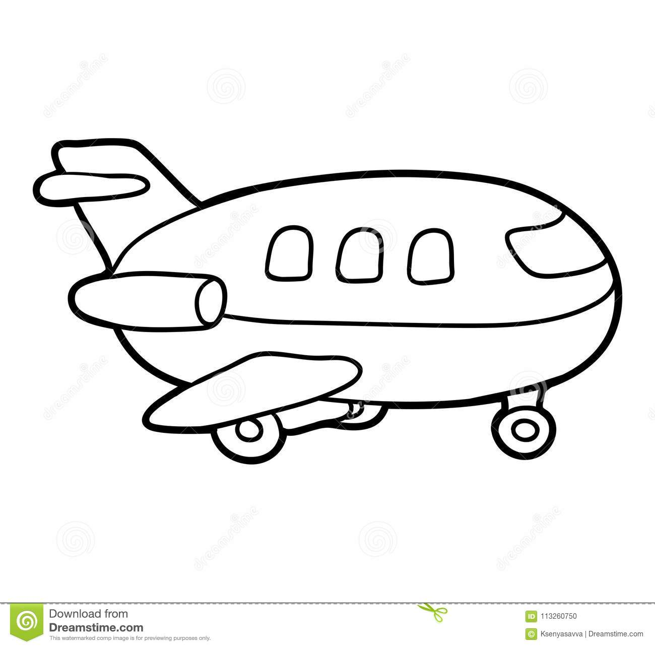 Coloring Book Airplane Stock Vector Illustration Of Page 113260750