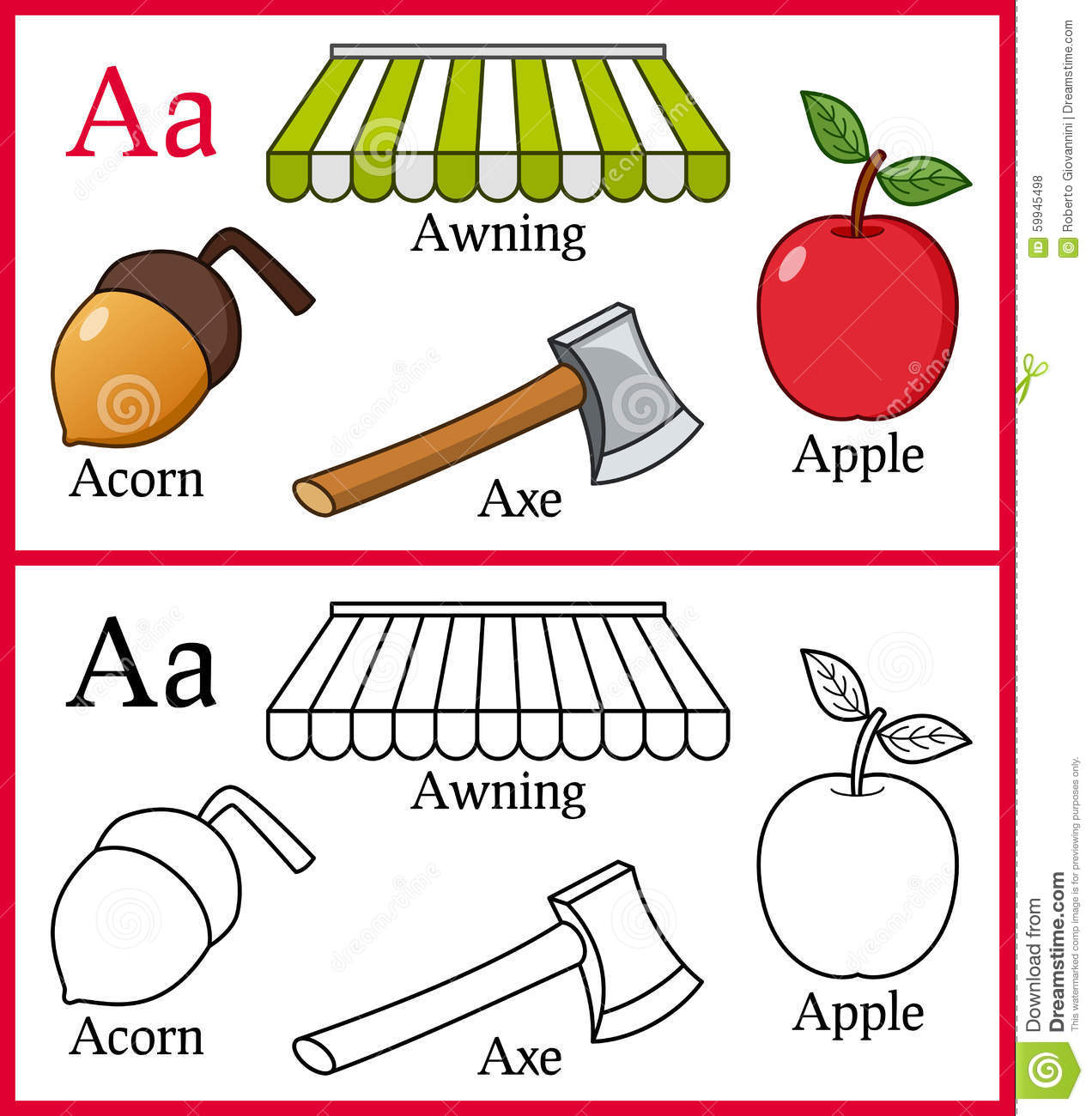 Stock Illustration Coloring Book Children Alphabet Letter Cartoon Objects Acorn Apple Awning Axe Isolated White Background Useful Also Image59945498 on Alphabet Coloring Pages For Preschool