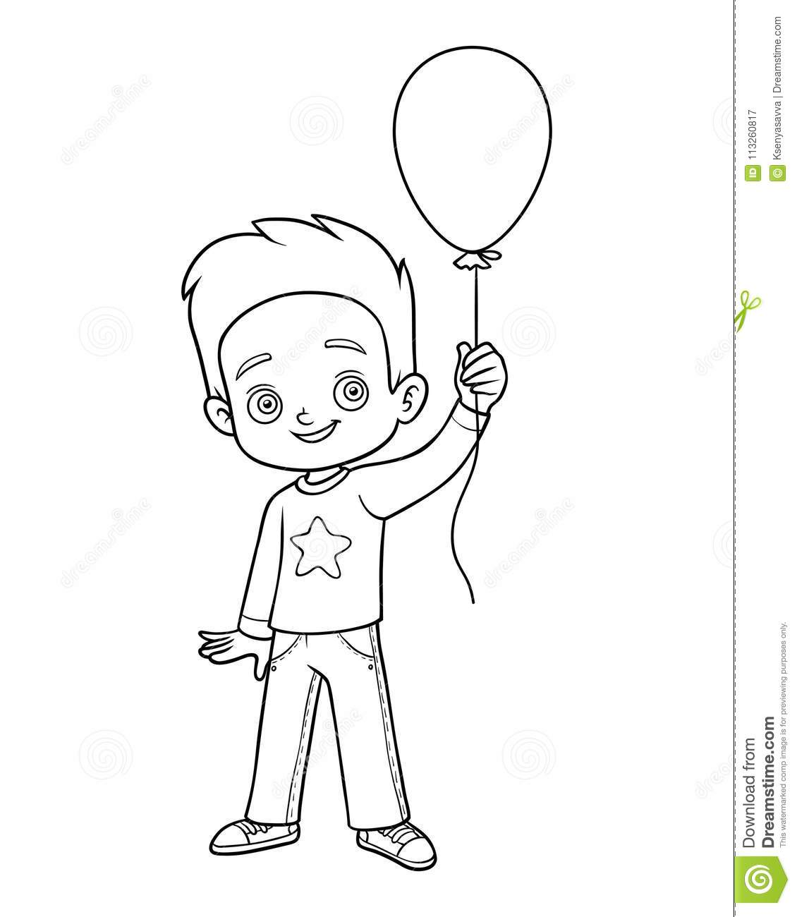 Coloring Book, Boy And Balloon Stock Vector - Illustration of game ...