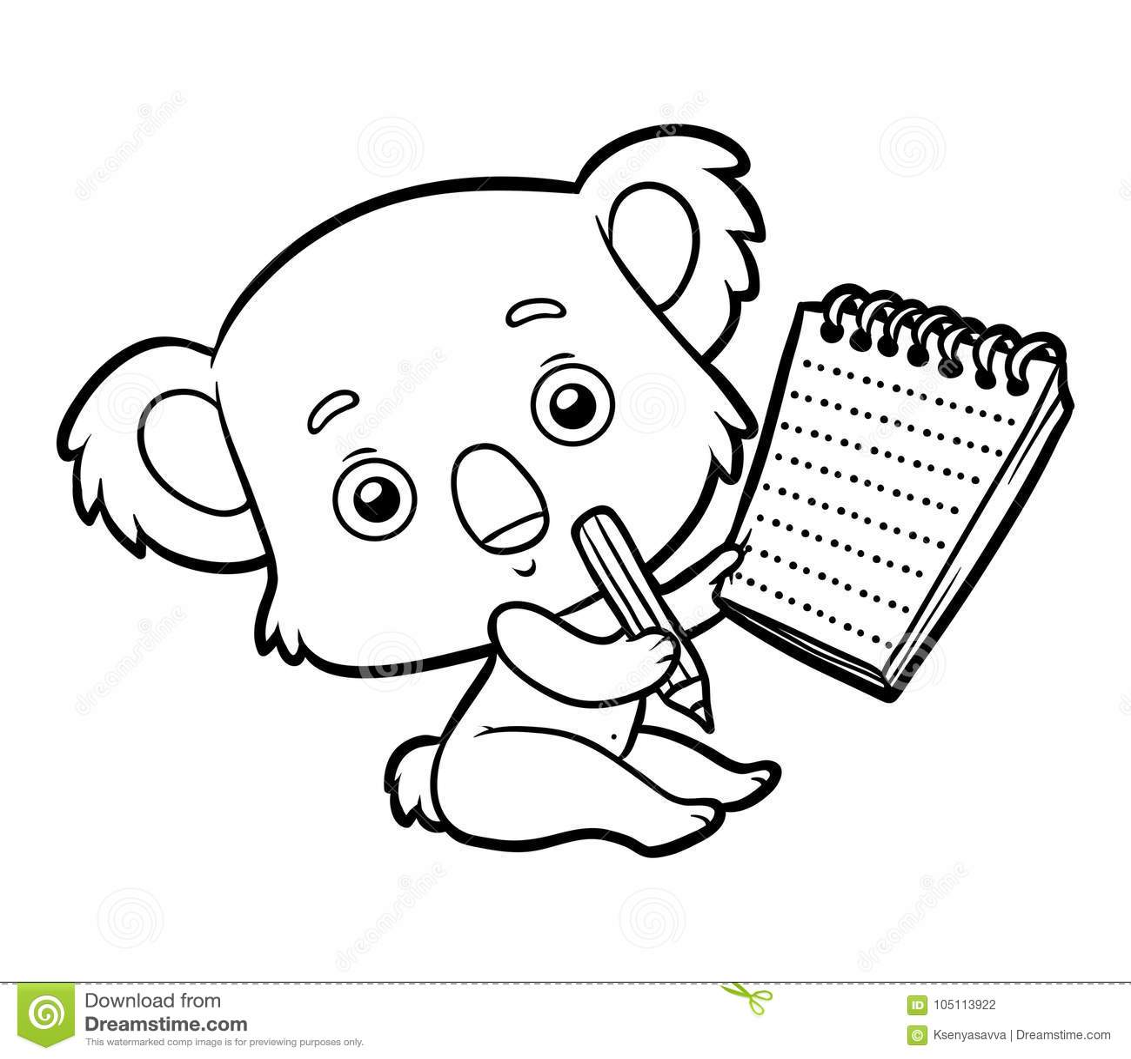 Coloring book, Koala stock vector. Illustration of outline ...