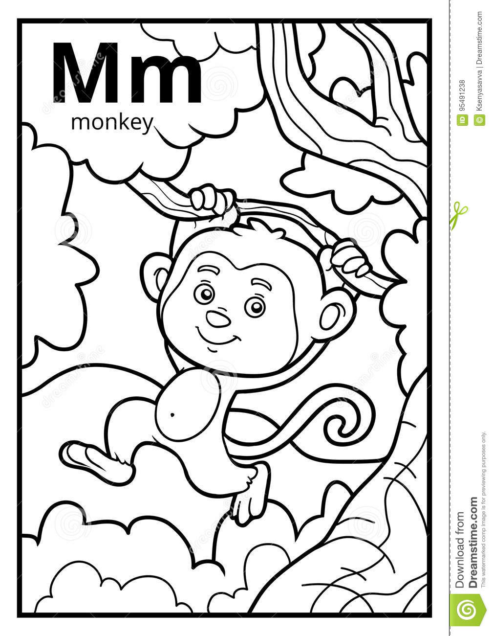 Coloring Book, Colorless Alphabet. Letter M, Monkey Stock Vector ...