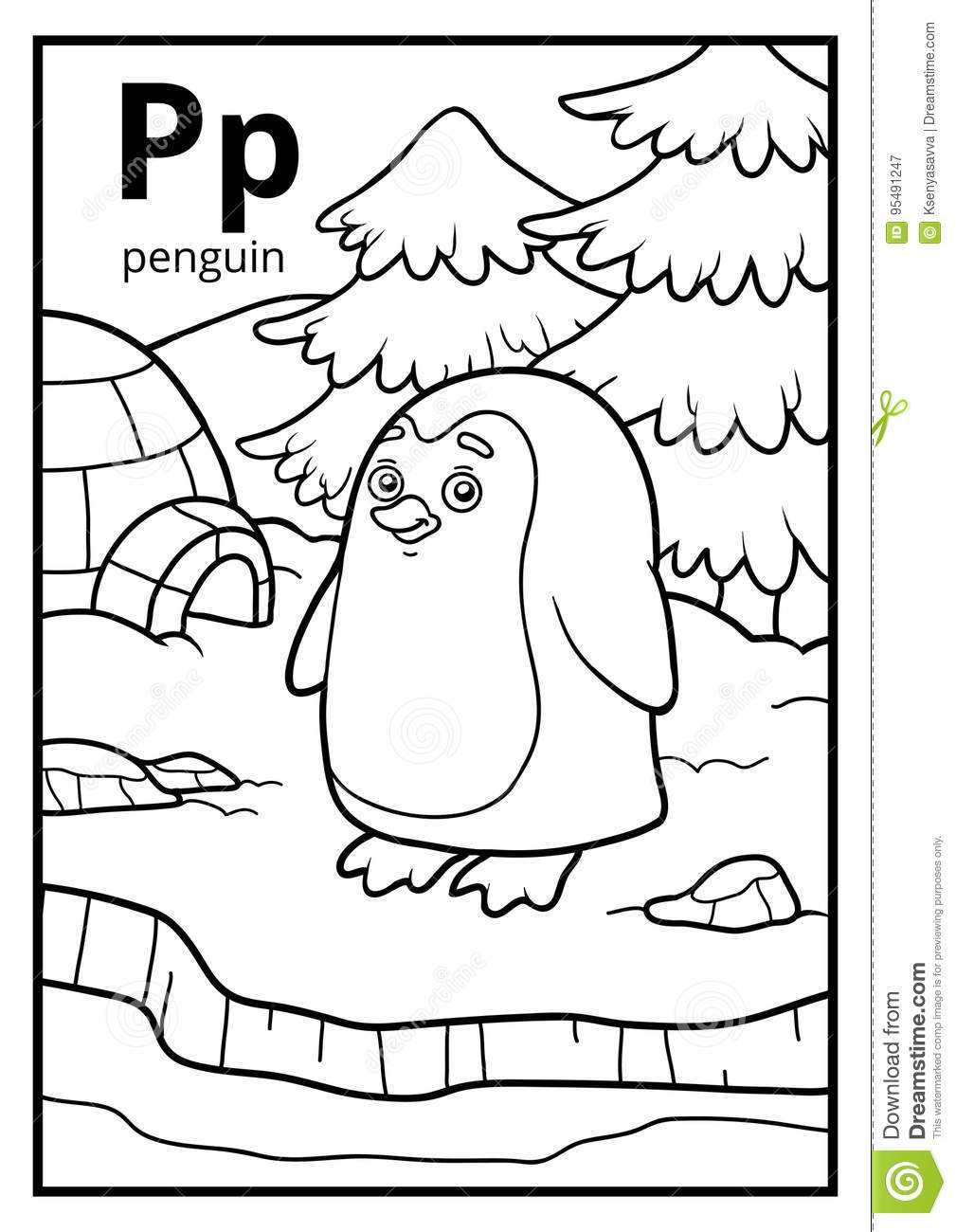 Coloring Book, Colorless Alphabet. Letter P, Penguin Stock Vector ...
