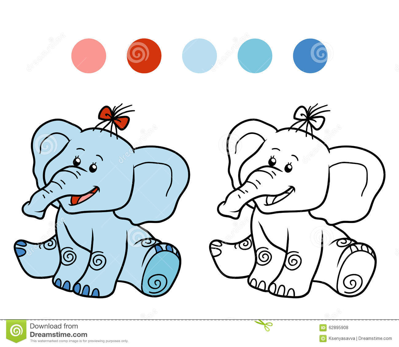 Royalty Free Vector Download Coloring Book For Children Elephant