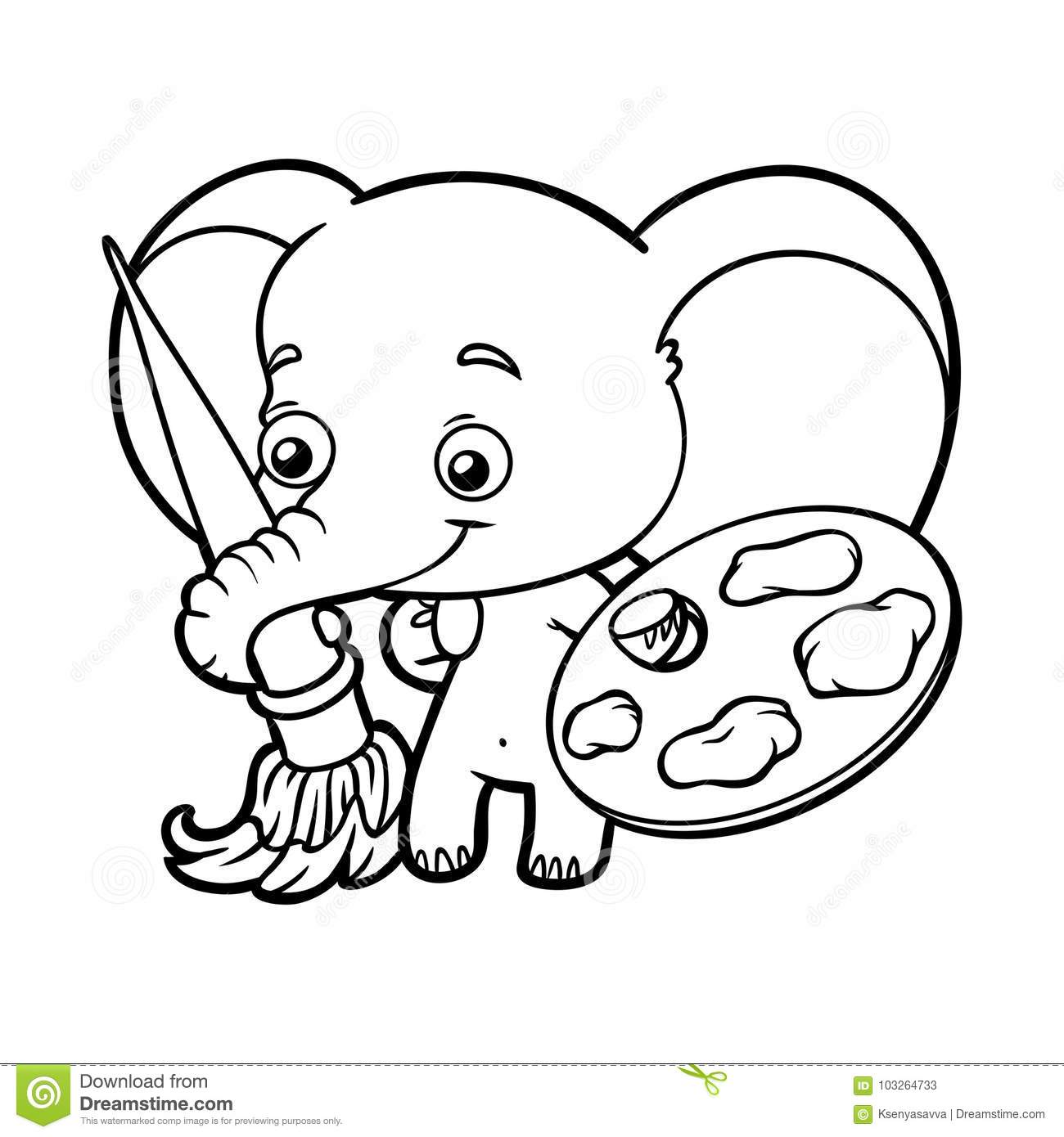 Coloring Book, Elephant With Paints And A Brush Stock Vector ...