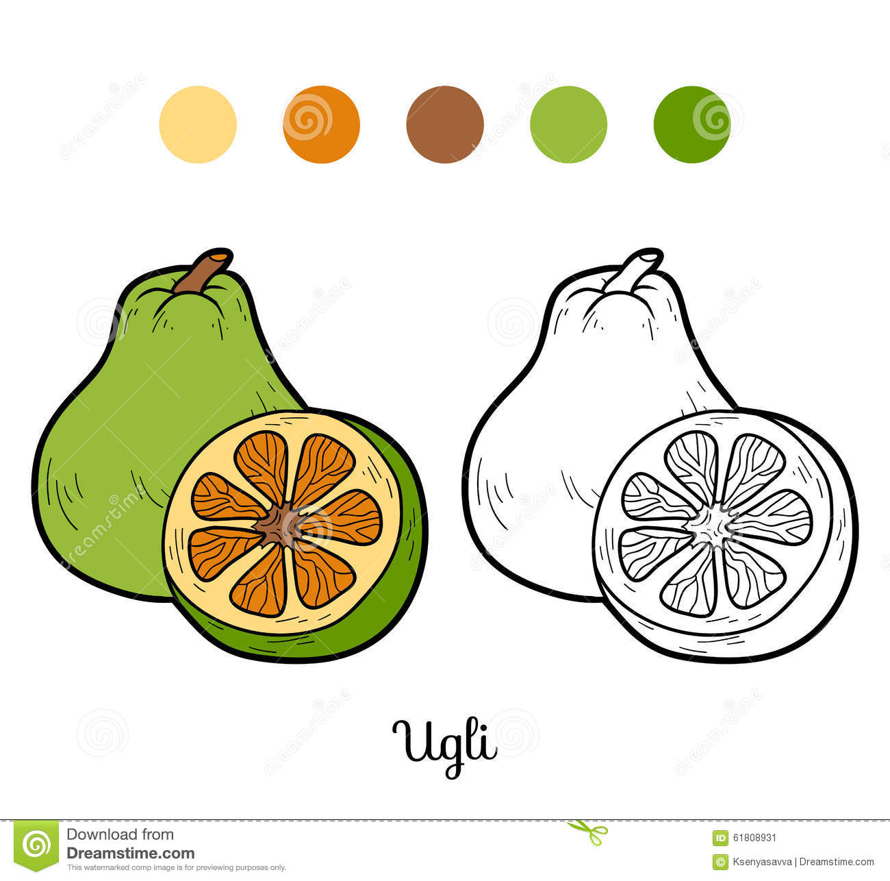 Download Coloring Book For Children Fruits And Vegetables Ugli Stock Vector