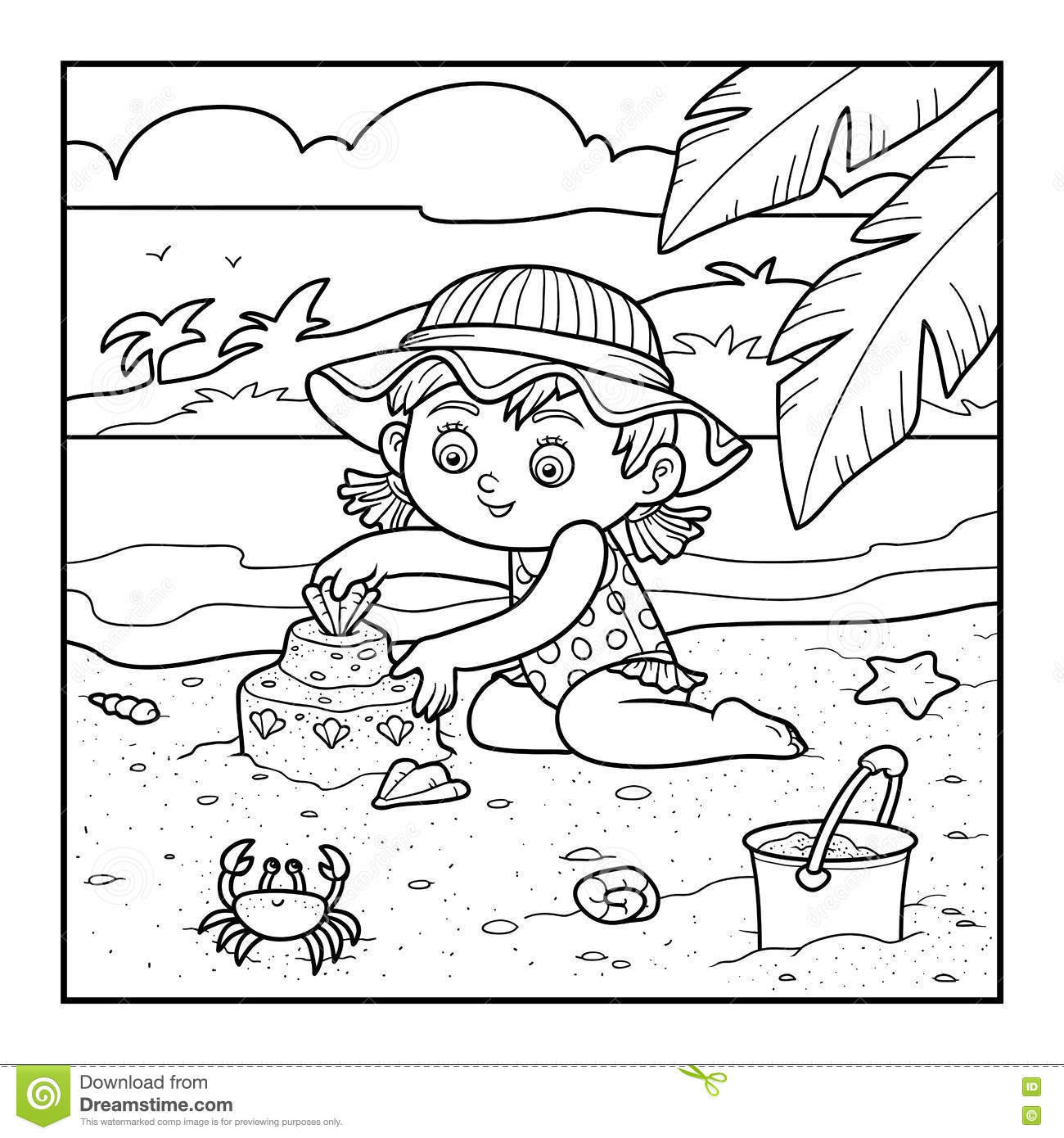 Coloring book for girl - Coloring Book For Children Girl Builds A Sand Castle Stock Vector