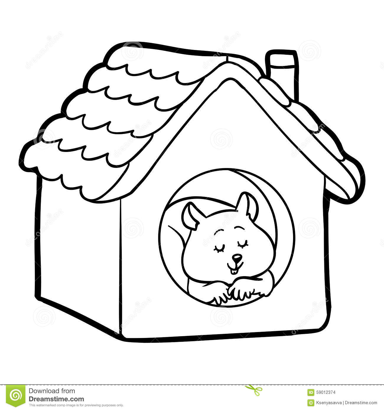 Coloring Book For Children: Hamster And House Stock Vector ...
