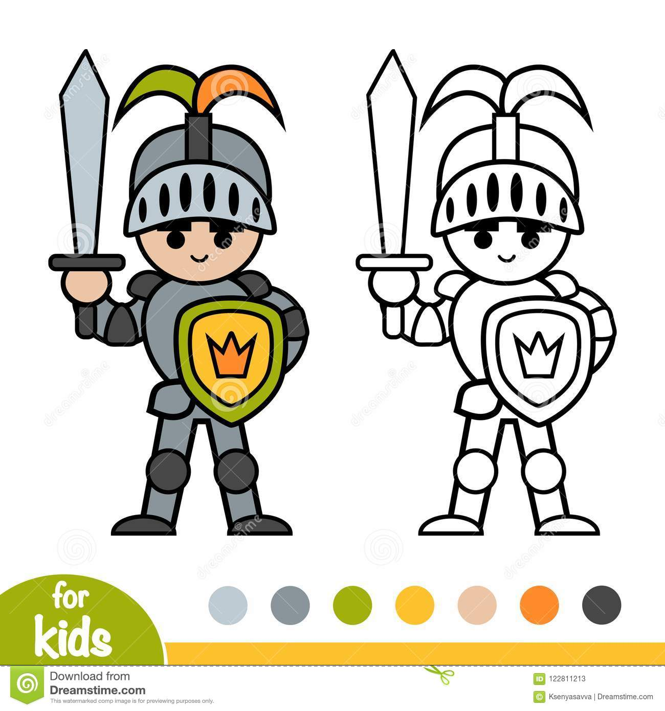 Coloring book, Knight stock vector. Illustration of ...