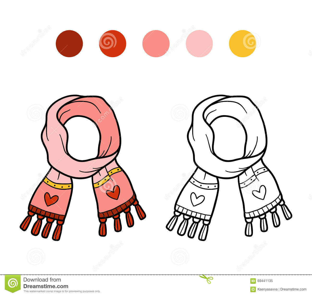 Coloring Book For Children Knitted Winter Scarf With Heart Stock Vector Illustration Of Muffler Adorable 69441135