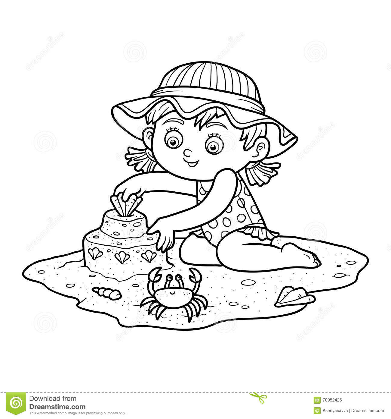 Coloring book for girl - Coloring Book For Children Little Girl On The Beach