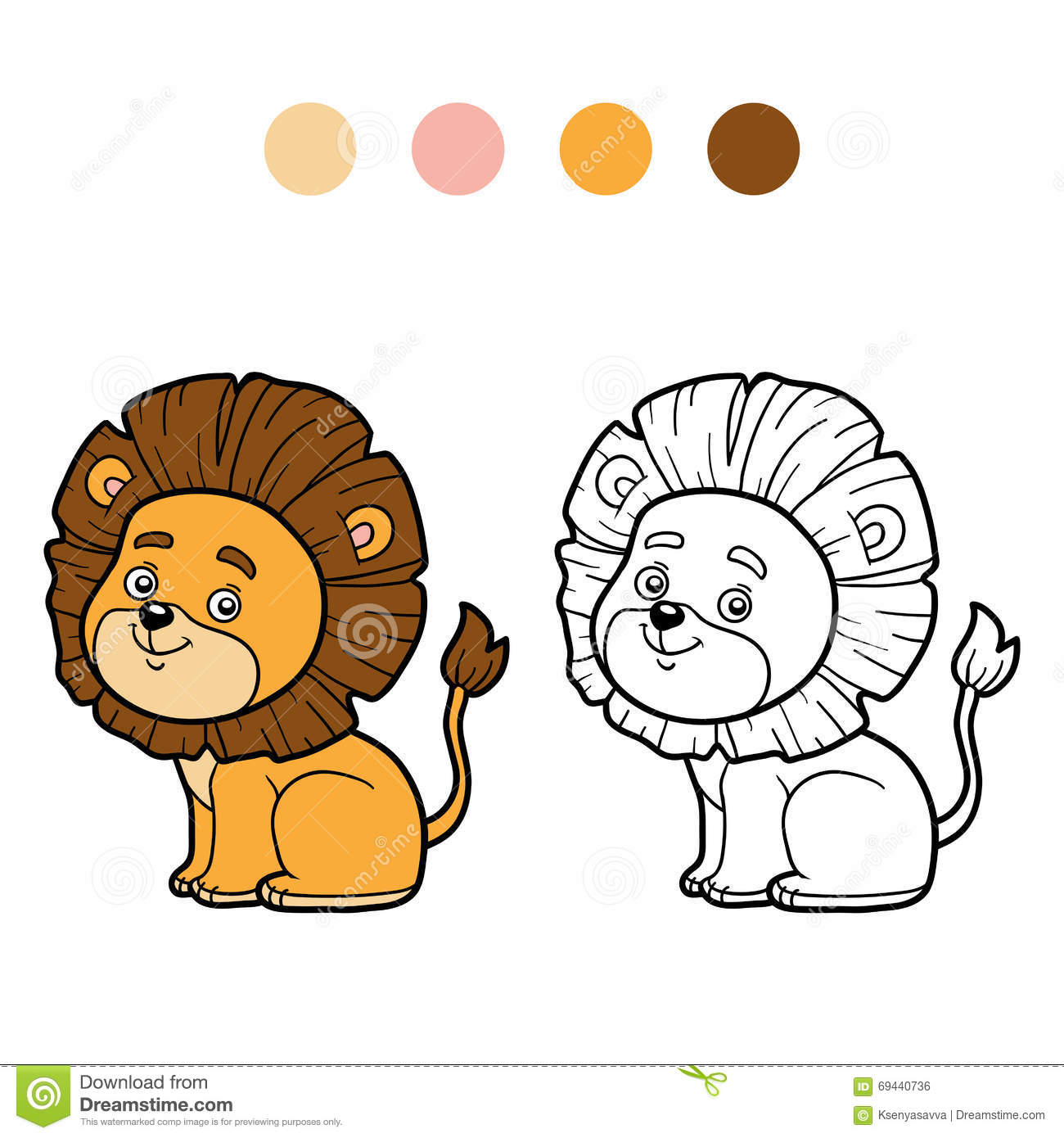 Download Coloring Book For Children Little Lion Stock Vector
