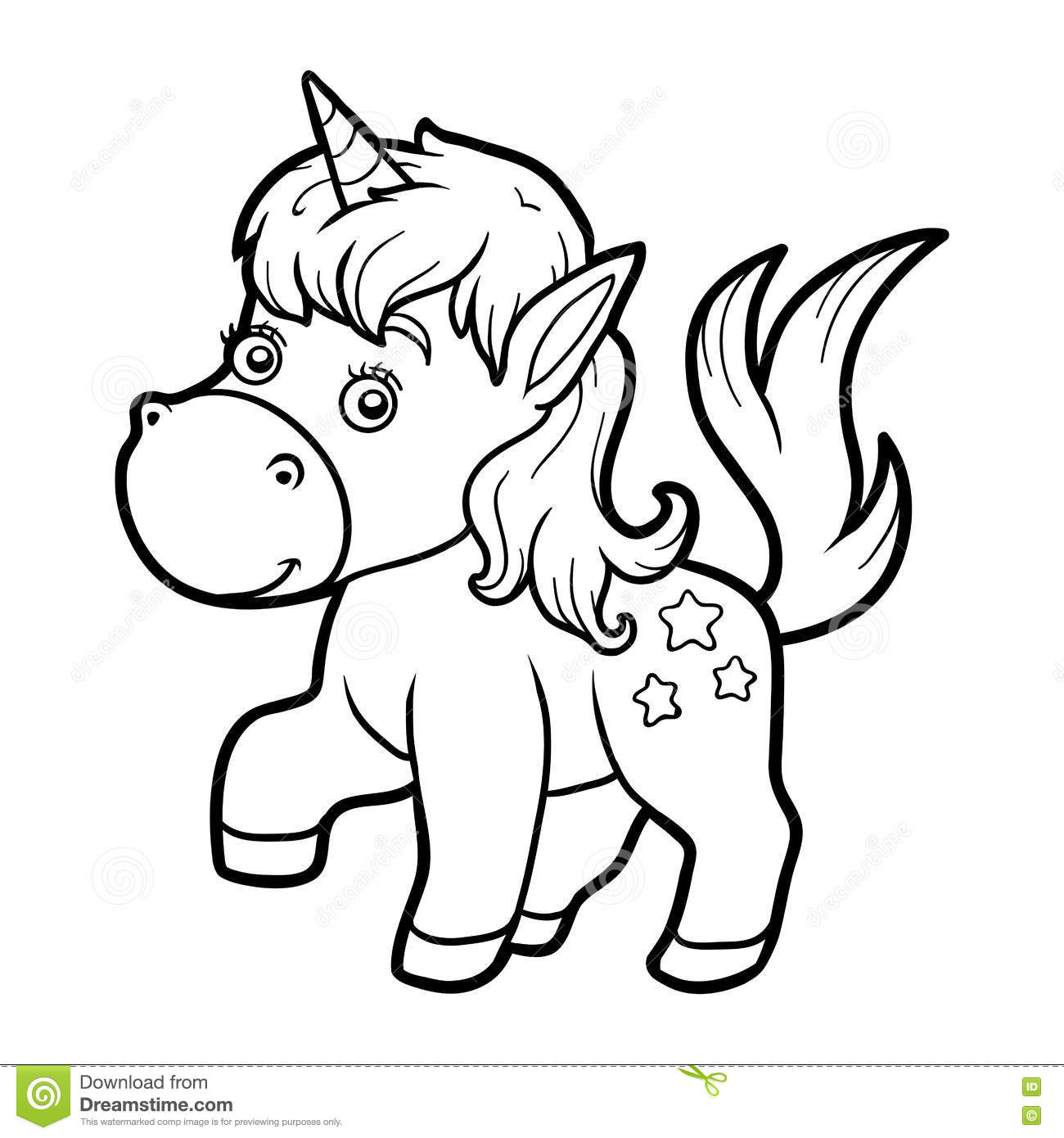 Coloring book for children coloring page with little unicorn