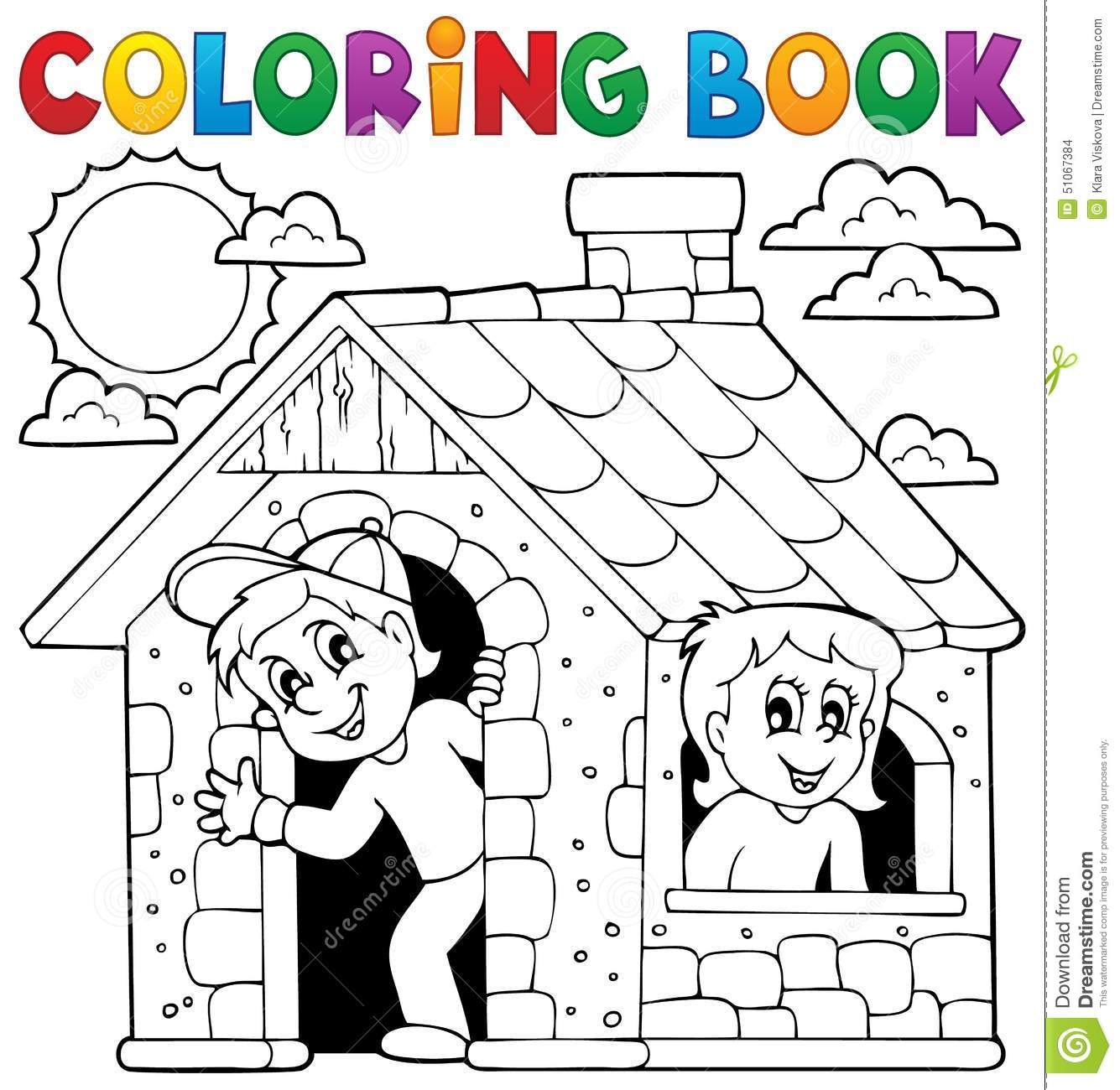 Coloring Book Children Playing In House