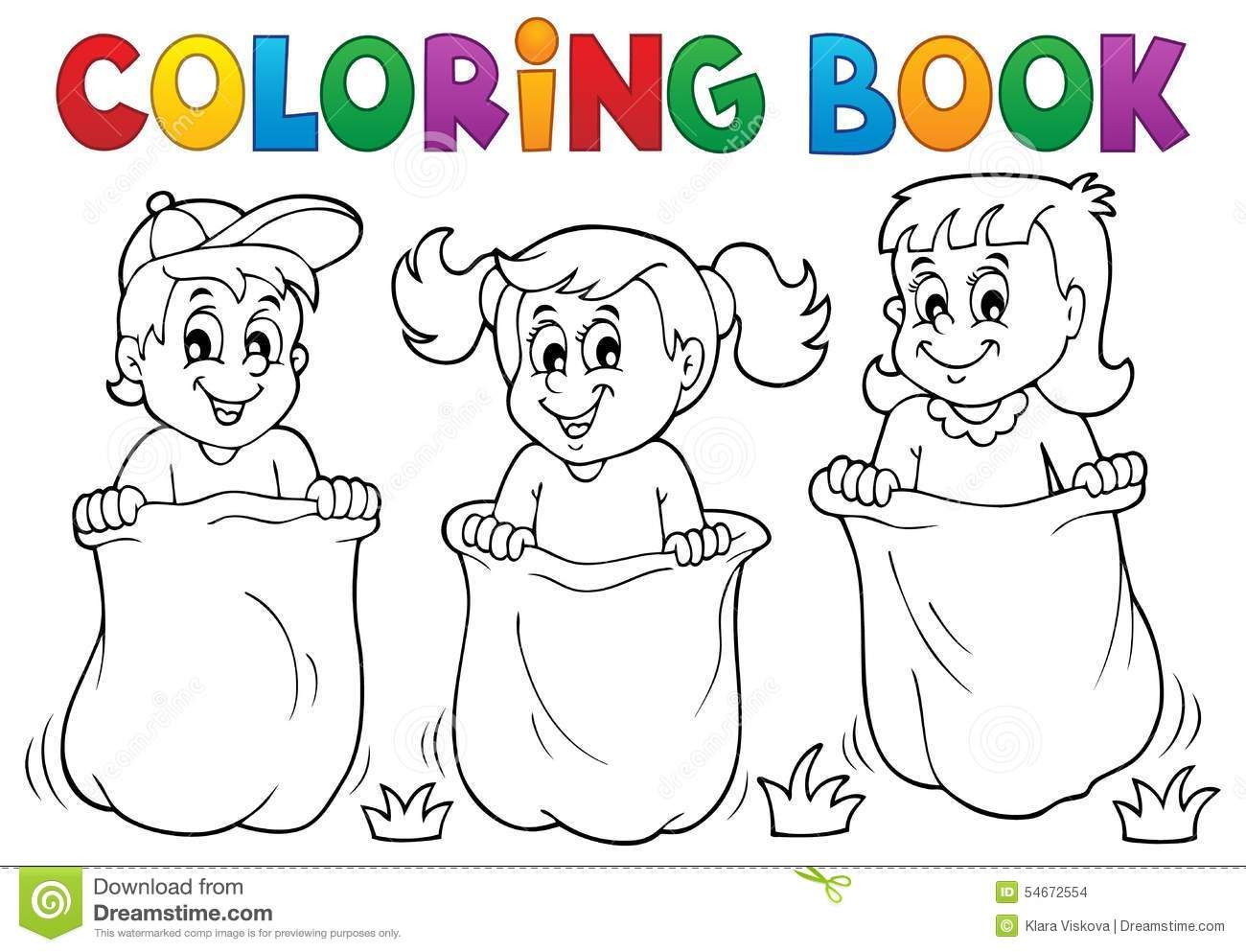 Coloring Book Children Playing Theme 1 Stock Vector