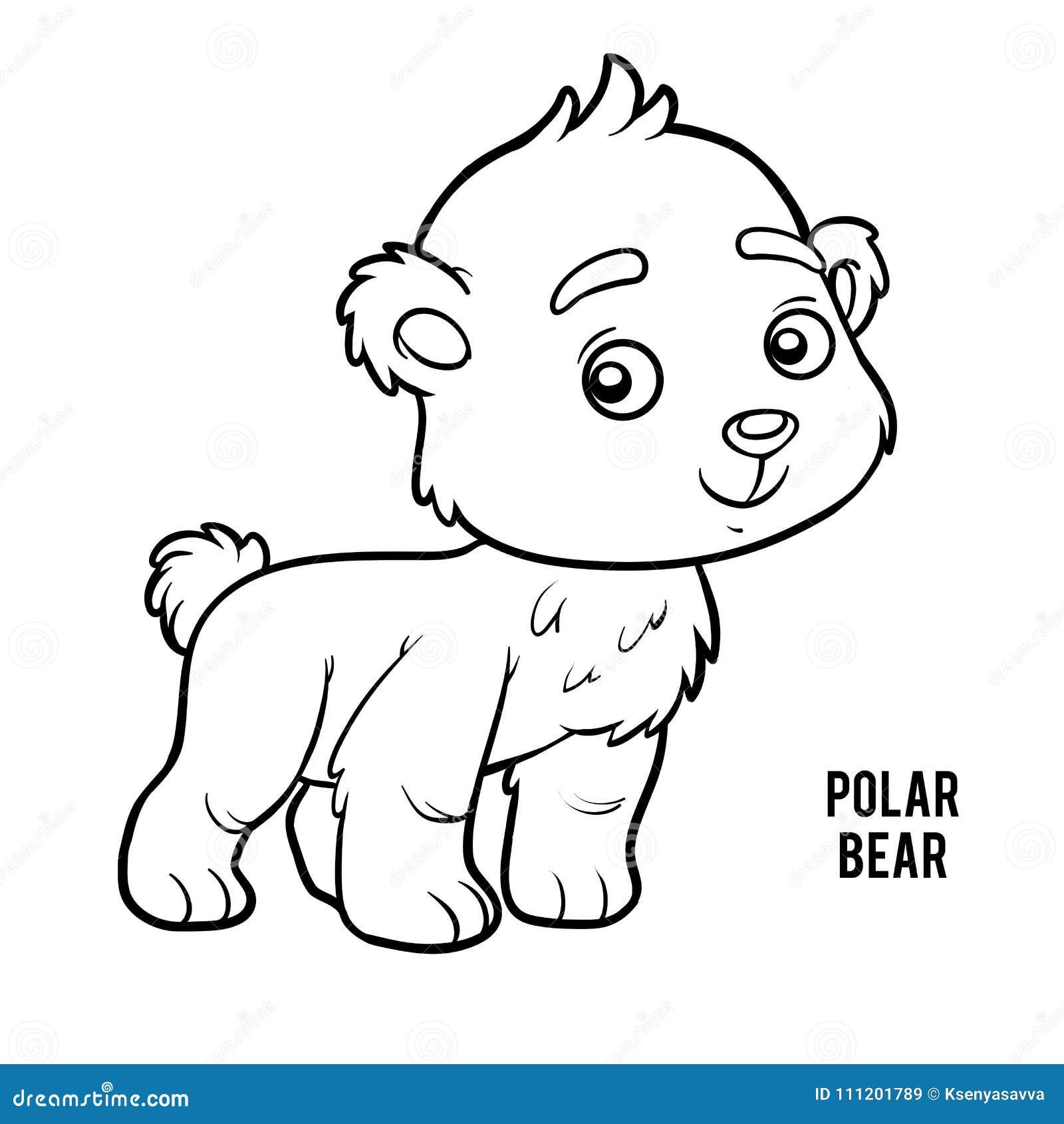 Coloring book, Polar bear stock vector. Illustration of game - 111201789