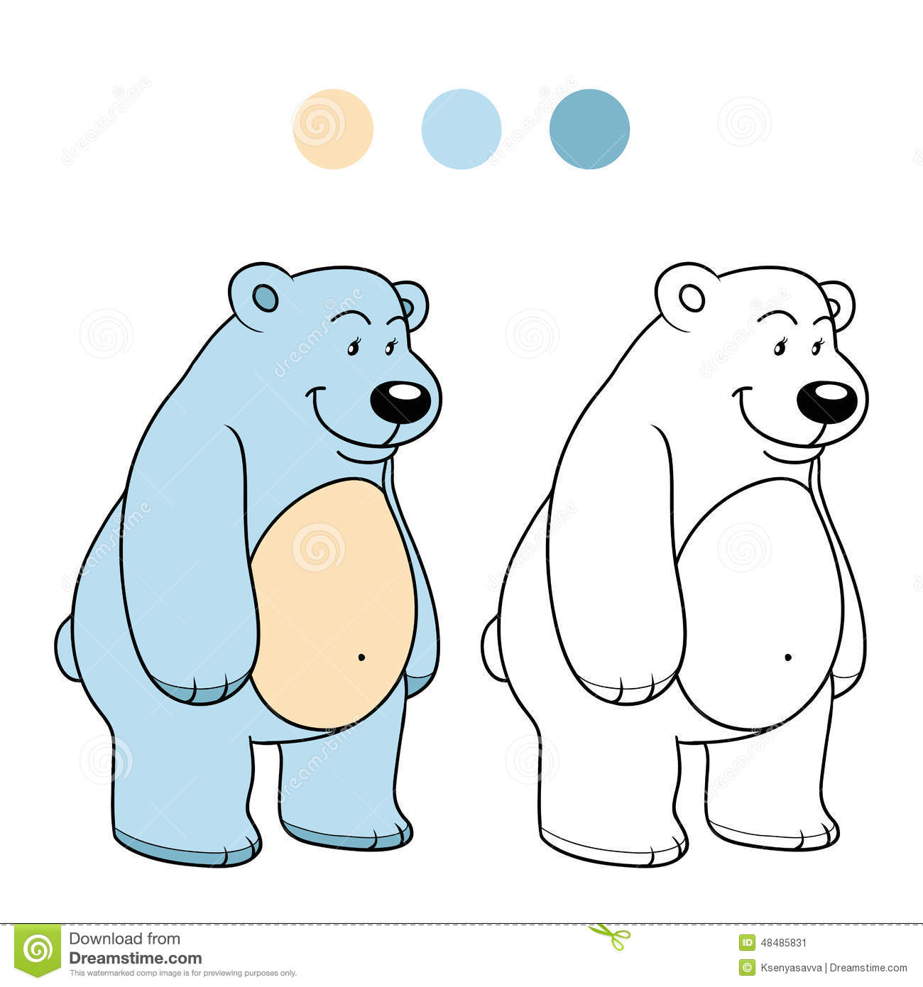 coloring book for children polar bear stock vector image 48485831