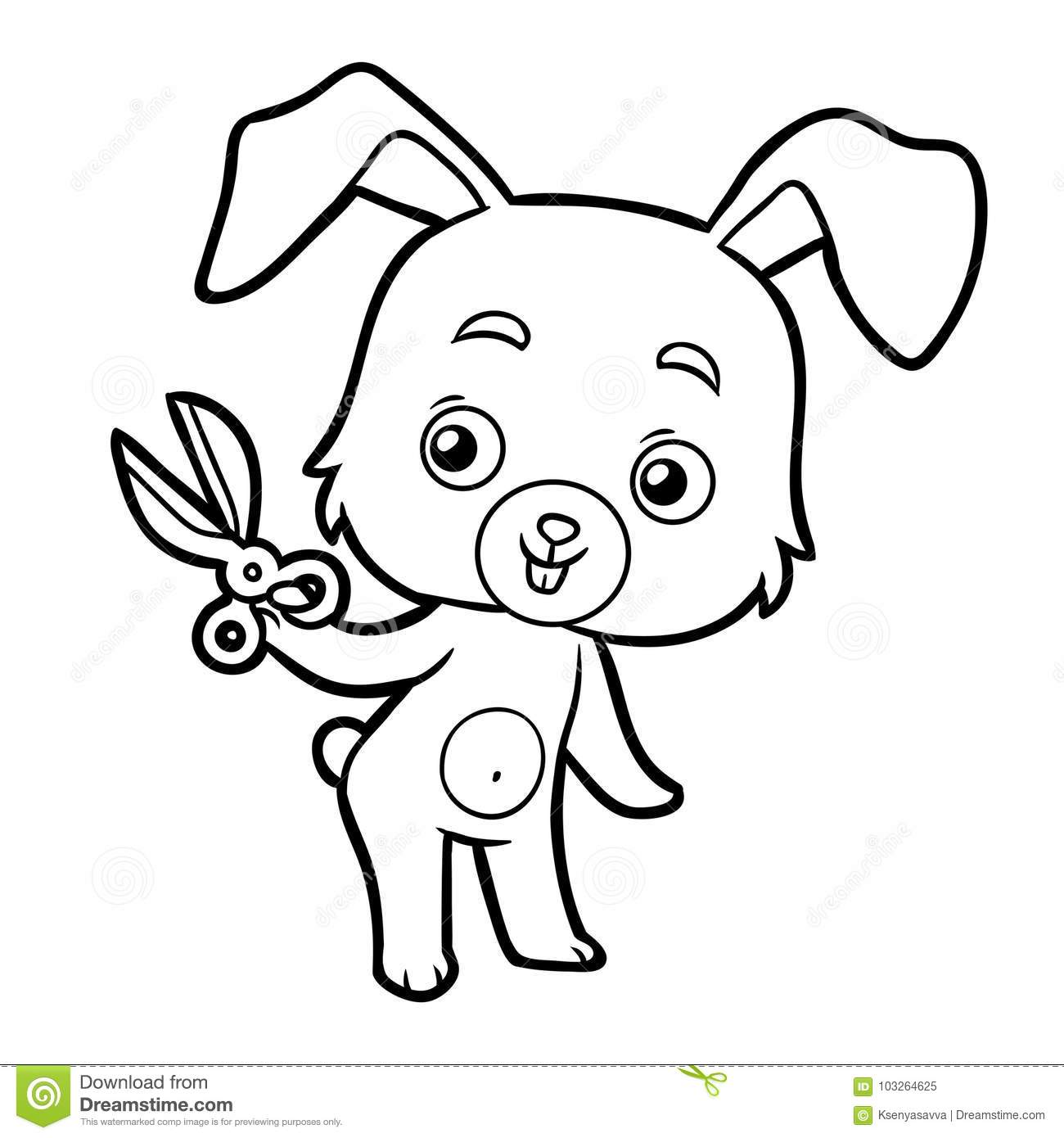 Coloring Book Rabbit And Scissors Stock Vector Illustration Of