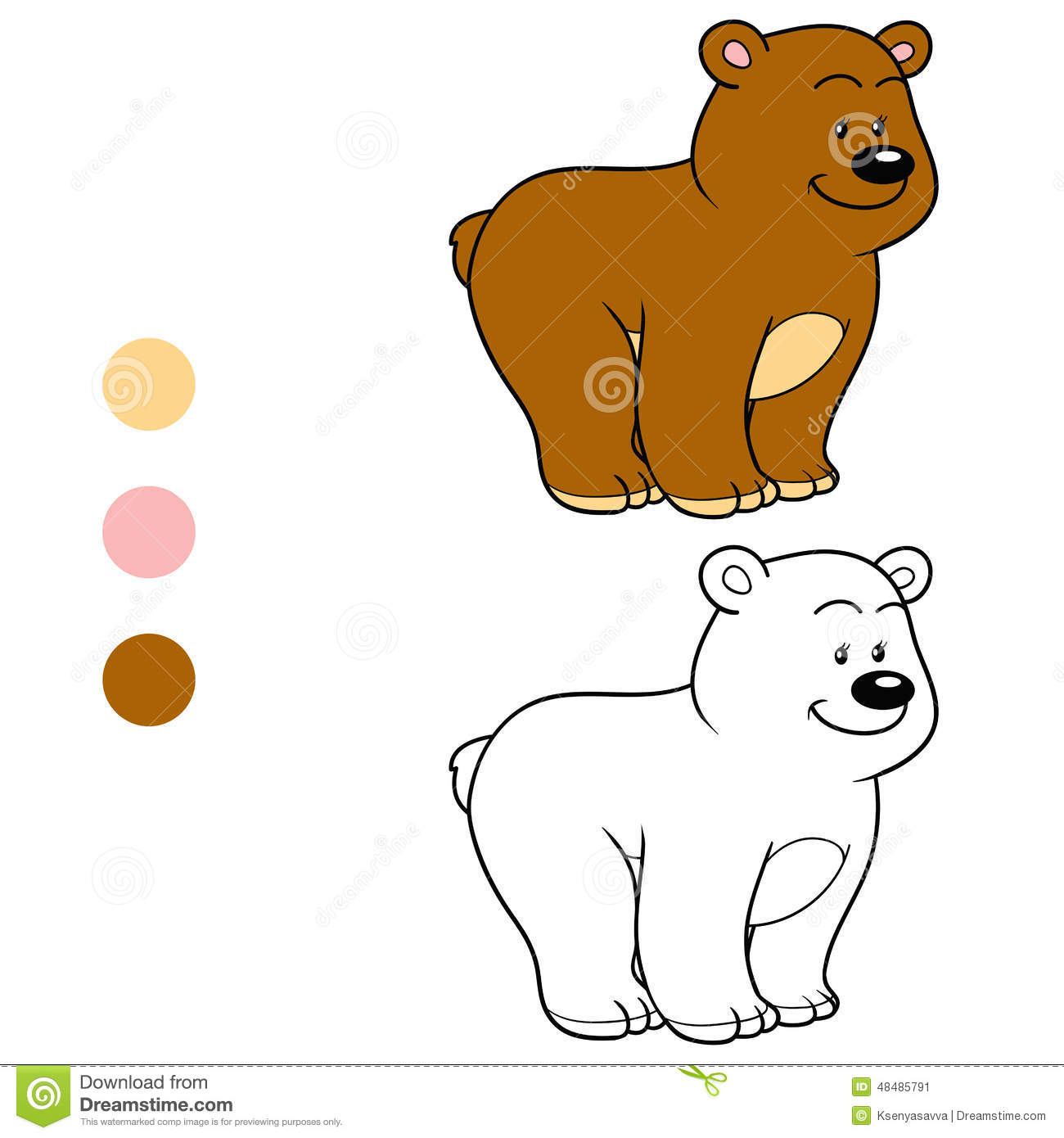 Coloring Book For Children Teddy Bear Stock Vector Illustration