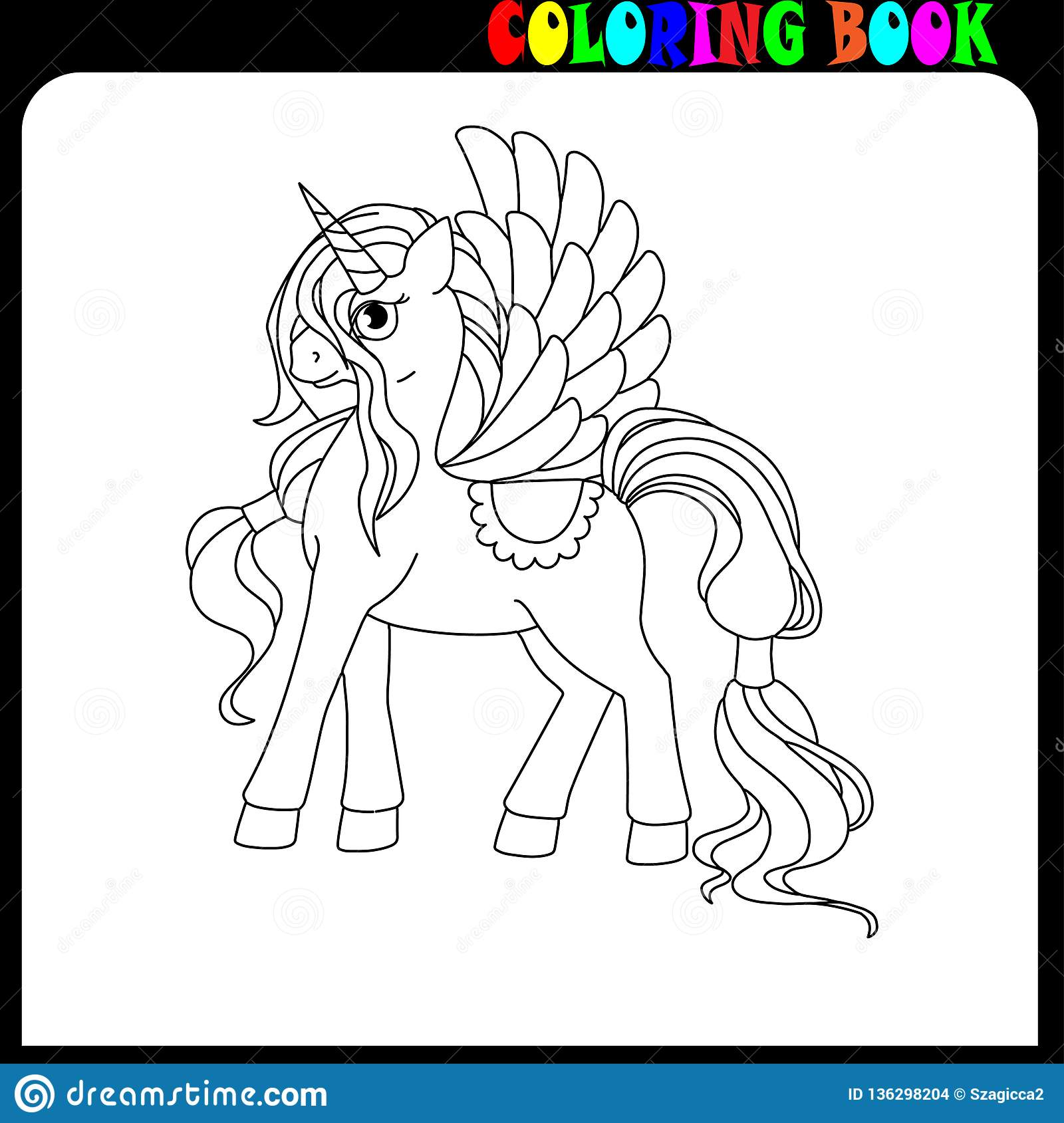 Coloring Book For Children Unicorn With Long Hair And Wings Stock Vector Illustration Of Girl Time 136298204