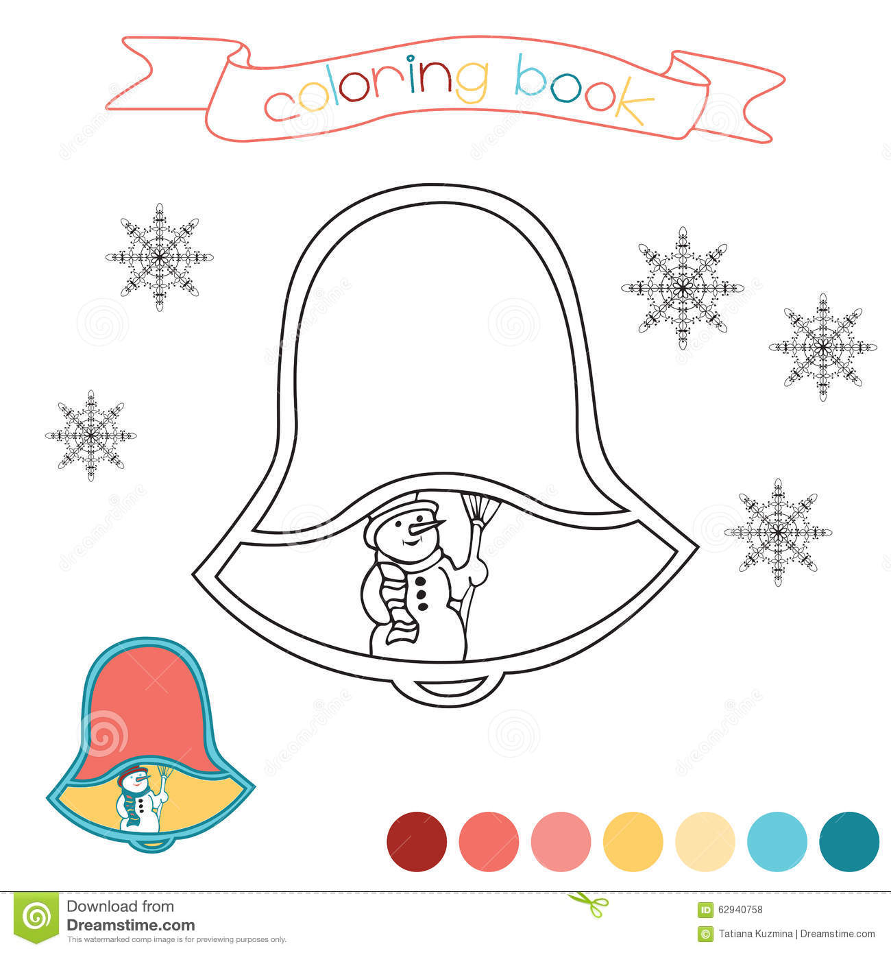 Coloring Book With Christmas Bell And Hand Drawn Snowman Winter Scene In Illustration Stock