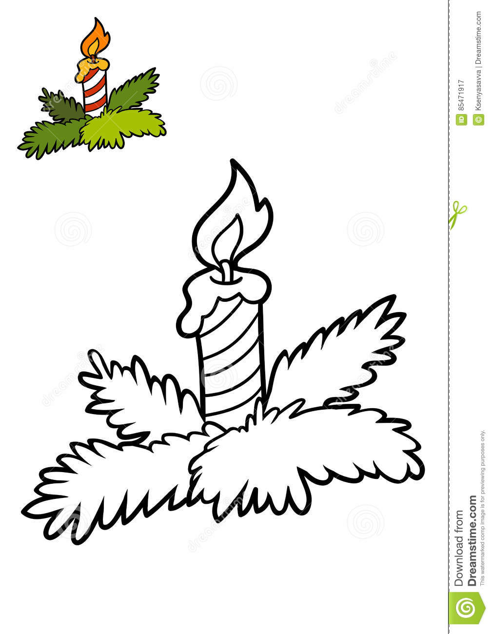 Royalty Free Illustration Download Coloring Book Christmas Candle