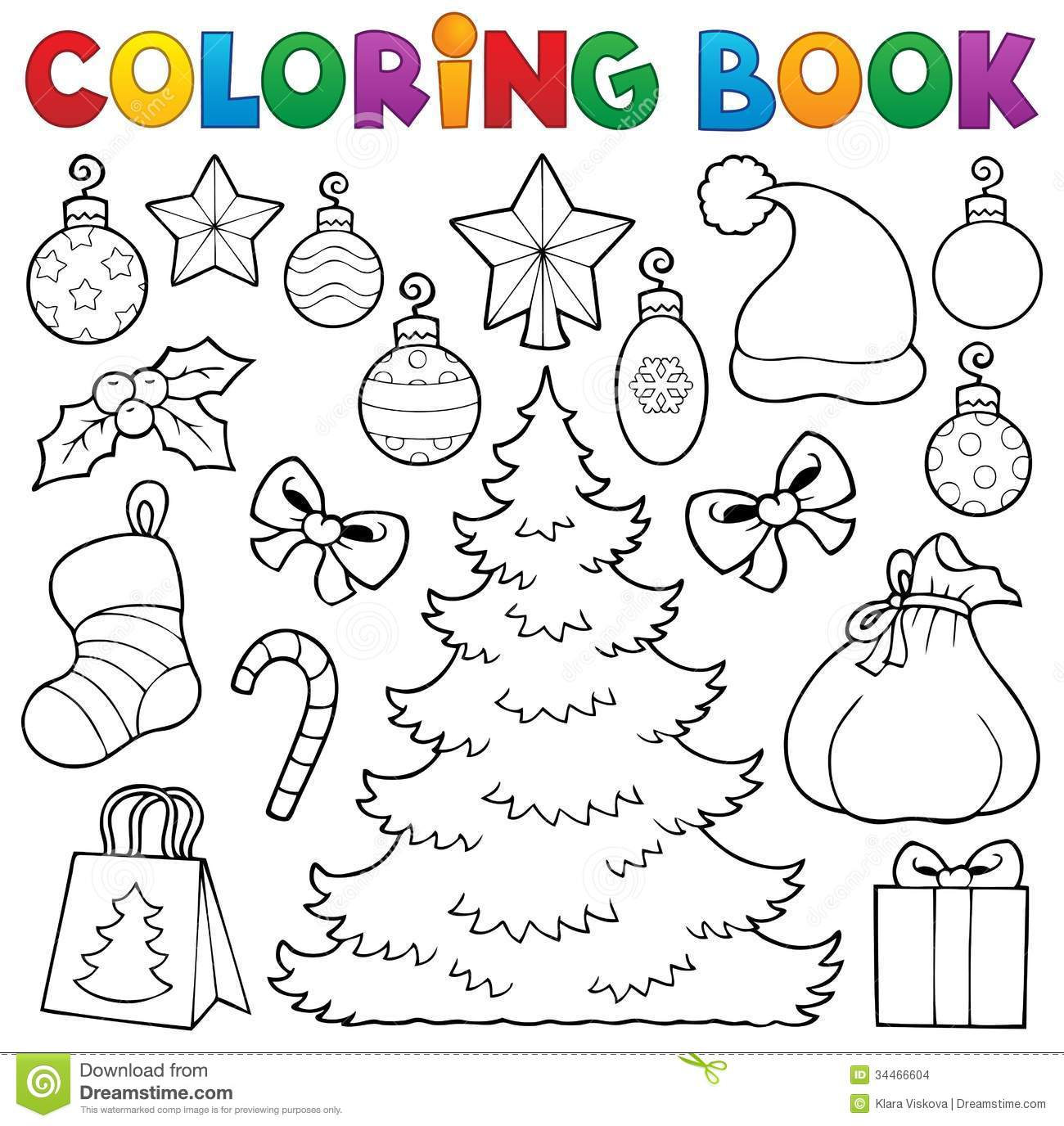 Coloring Book Christmas Decor 1 Stock Vector Illustration Of