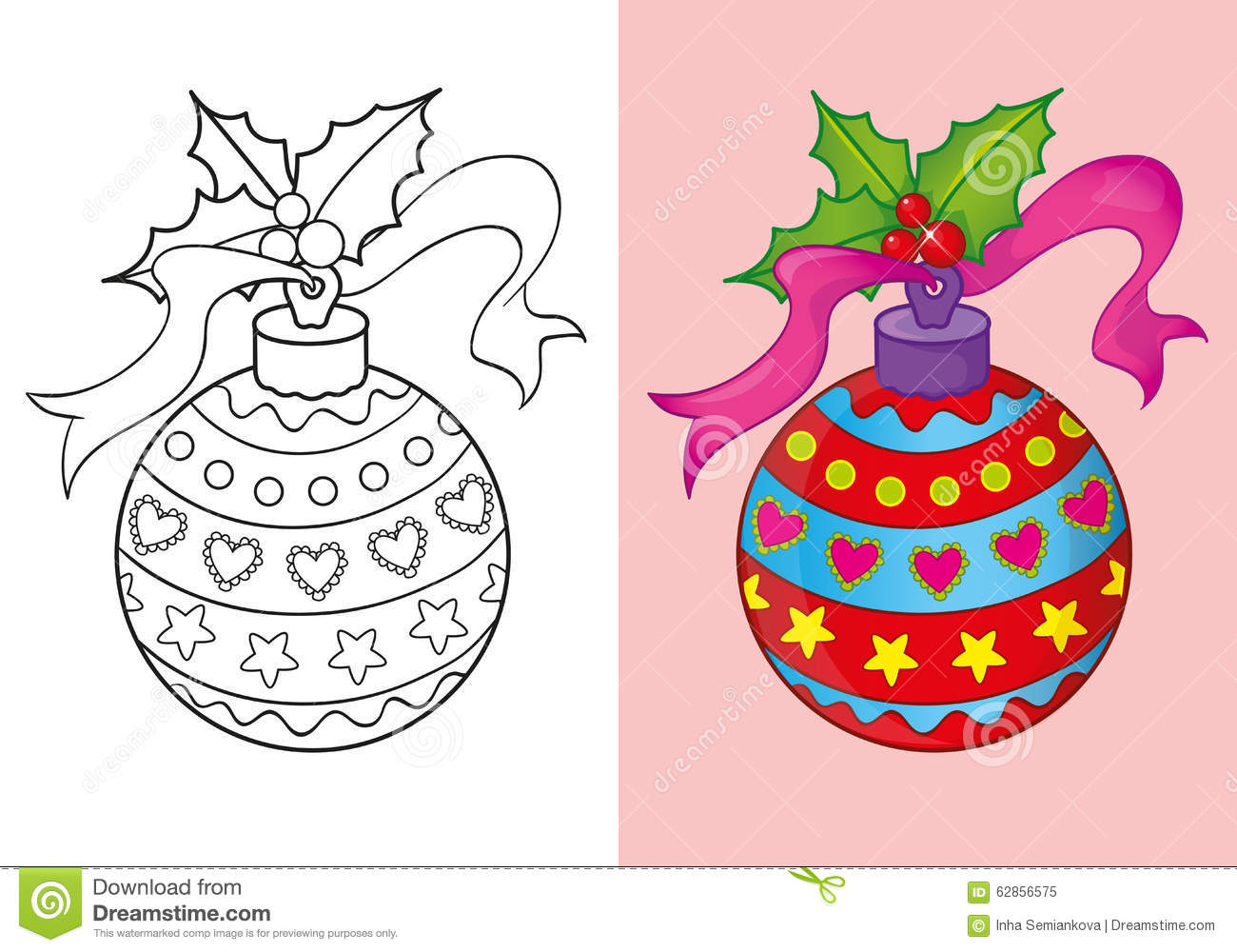 Coloring Book Of Christmas Red Ball Stock Illustration ...