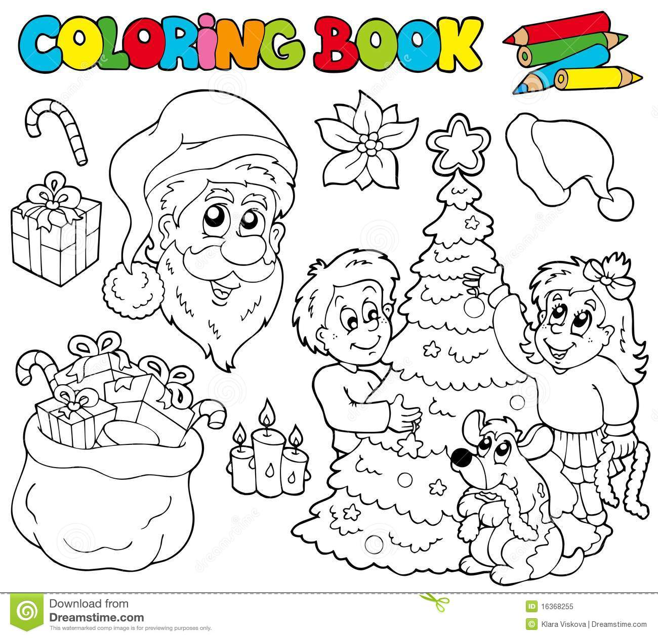 Coloring Book With Christmas Theme Stock Vector - Illustration of ...
