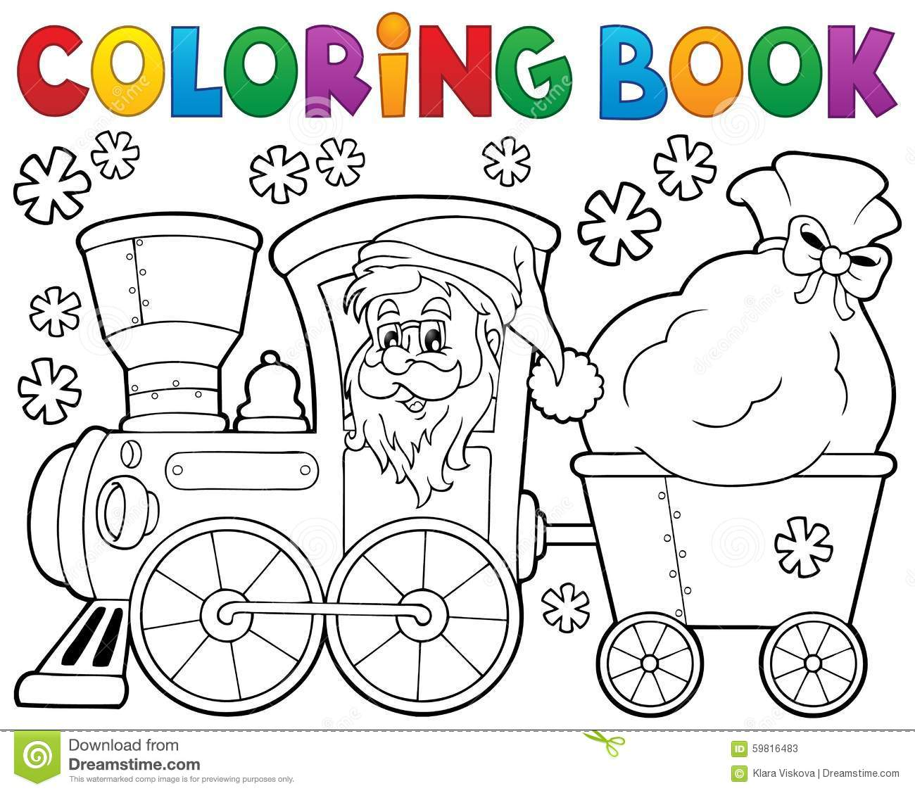 Royalty Free Vector Download Coloring Book Christmas Train
