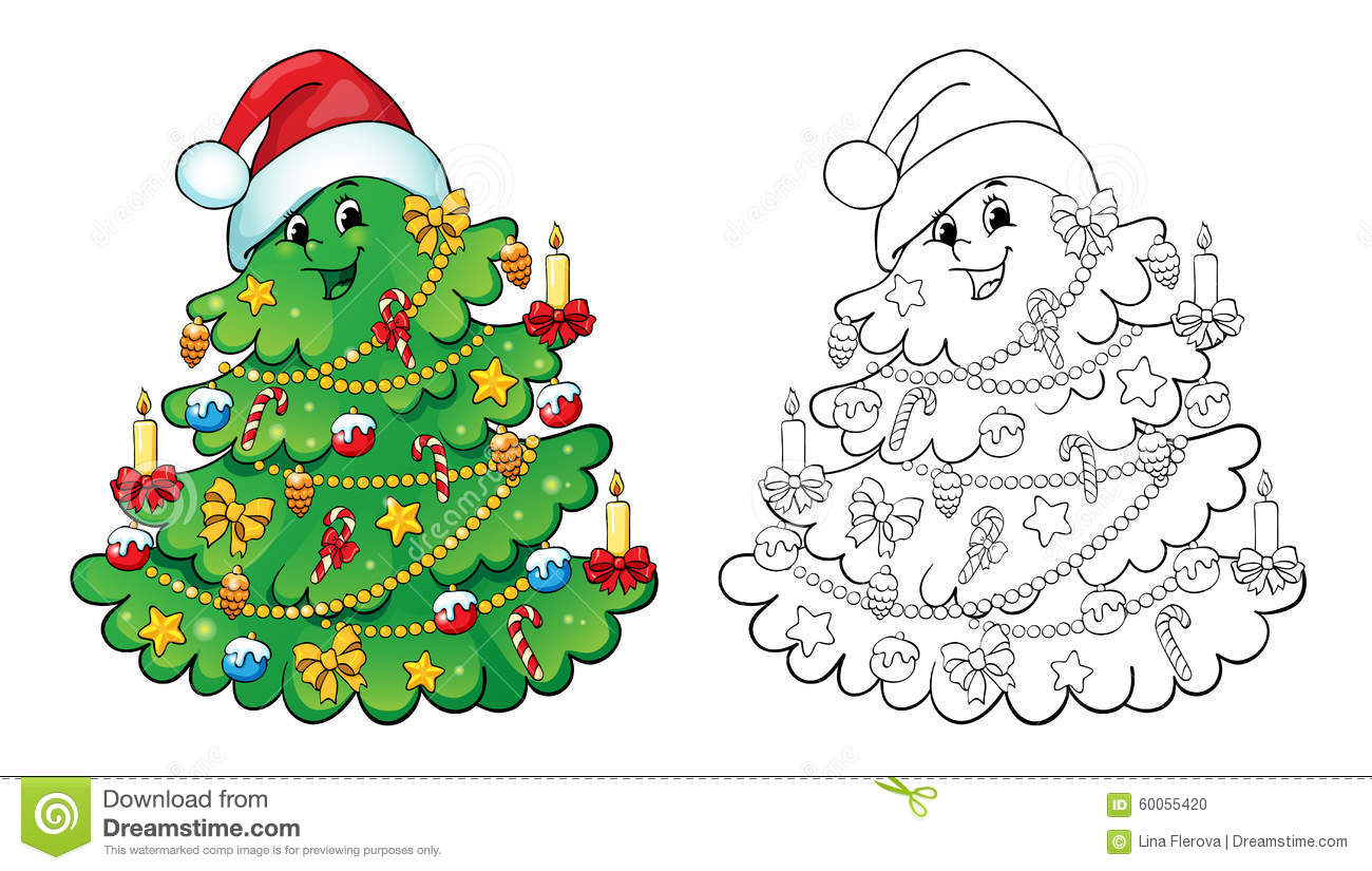 Coloring Book. Christmas Tree Card Concept. Stock Vector ...