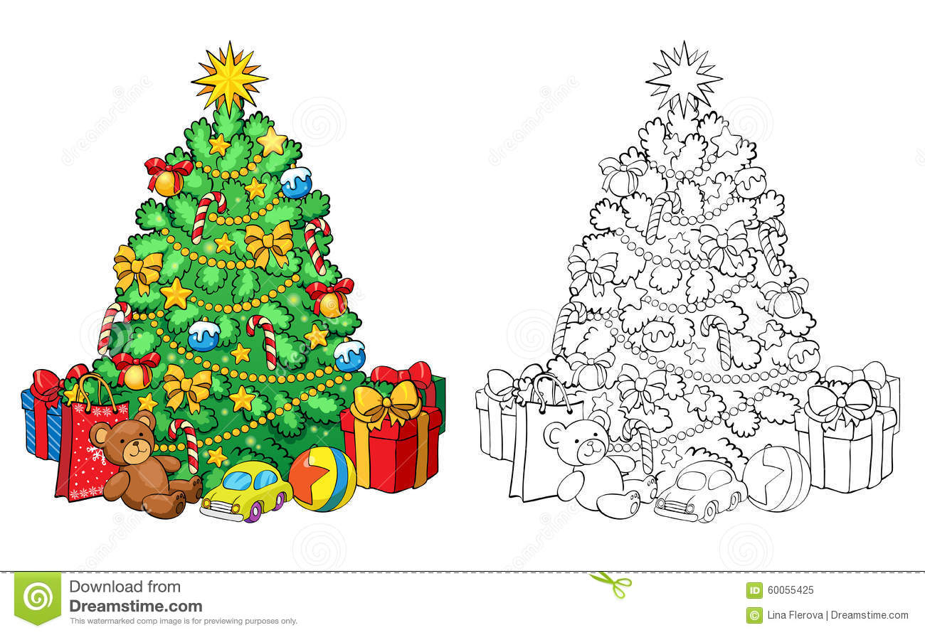 Coloring Book. Christmas Tree With Decorations And Gifts. Stock ...