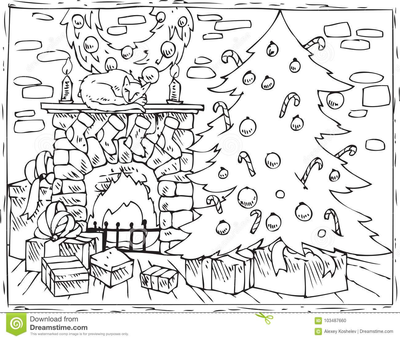 Coloring Book Christmas Tree Fireplace And Gifts Stock Vector