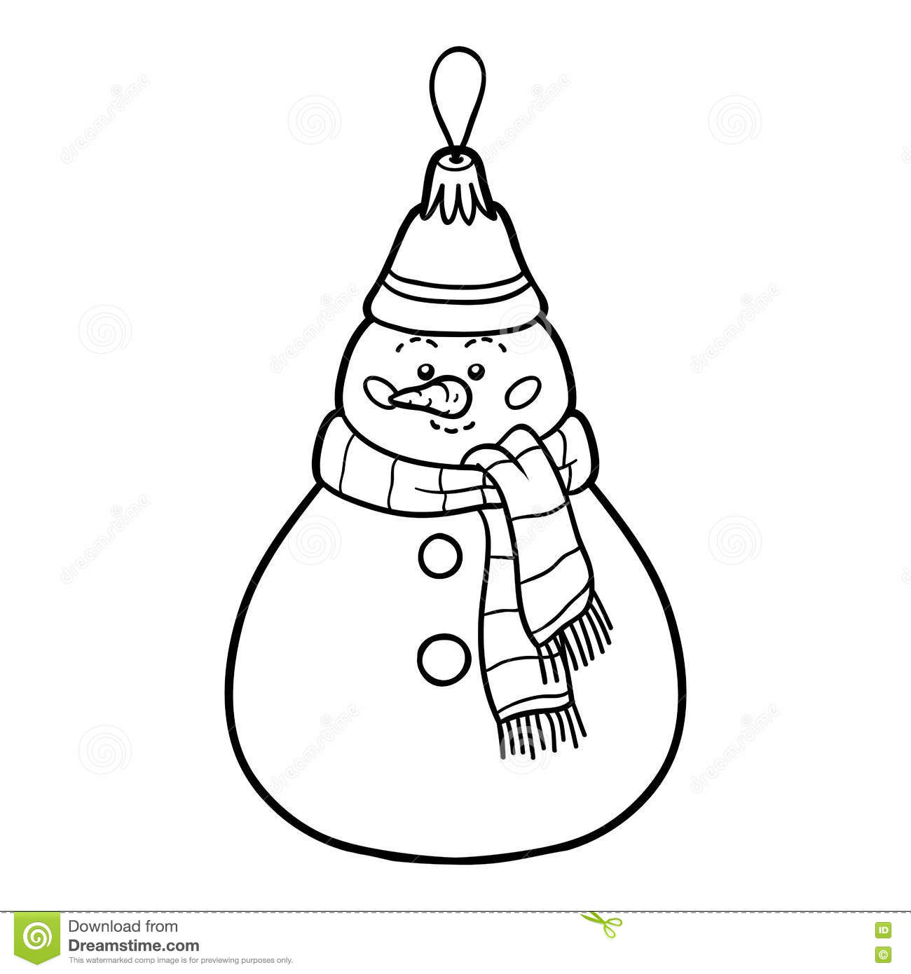 Coloring Book, Christmas Tree Toy, Snowman Stock Vector ...