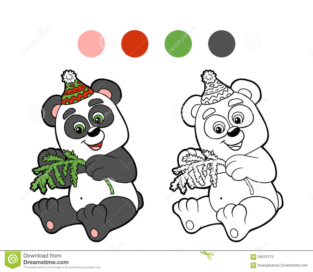 Mr Snowman On Christmas Touching A Snowflake Coloring Page: Coloring Book: Christmas Winter Panda Stock Vector