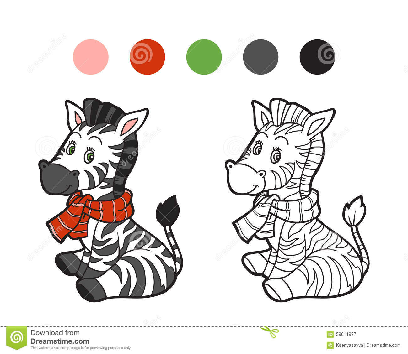 Coloring Book: Christmas Winter Zebra Stock Vector - Image ...